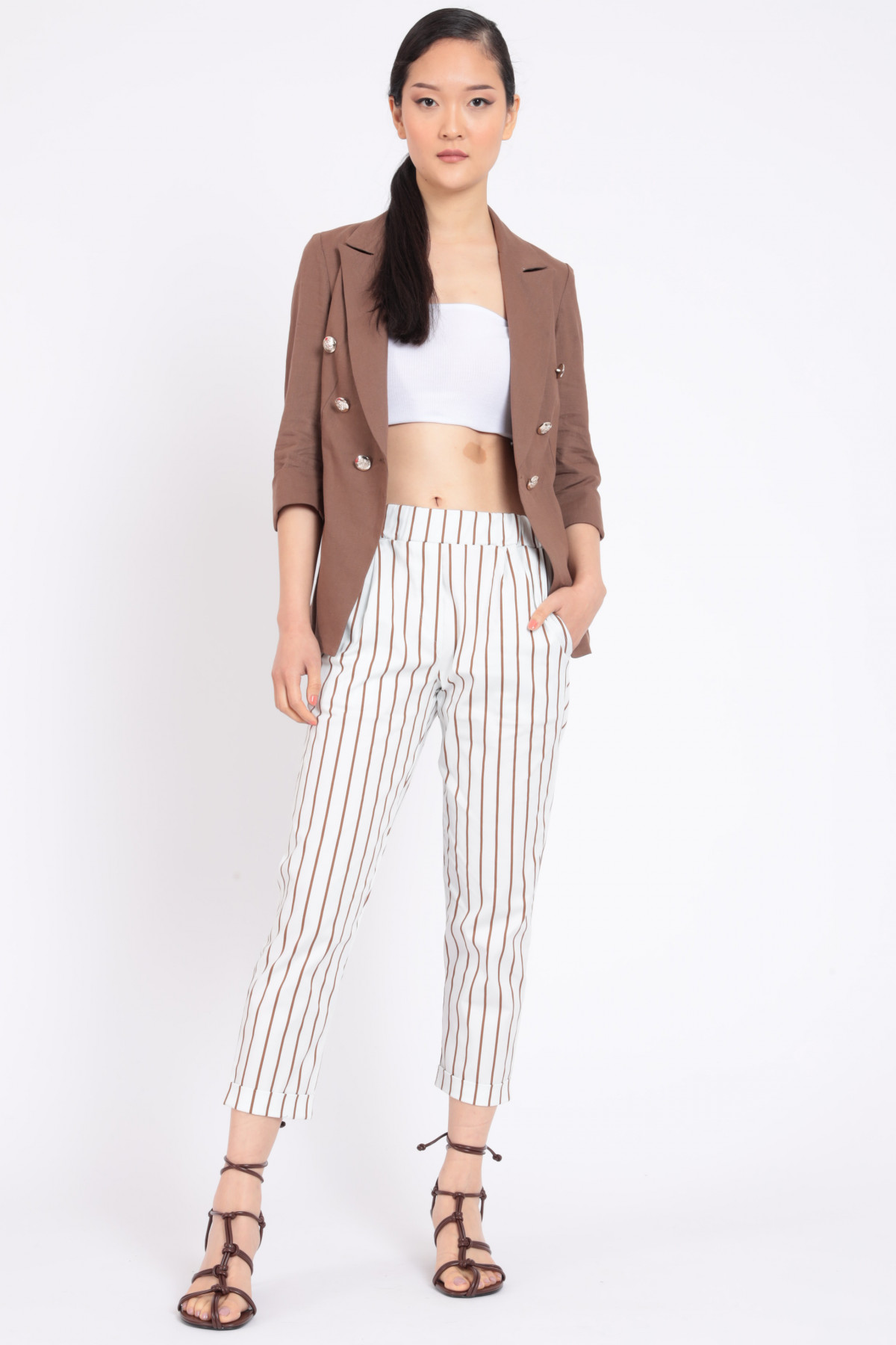 High Waist Pinstripe Trousers