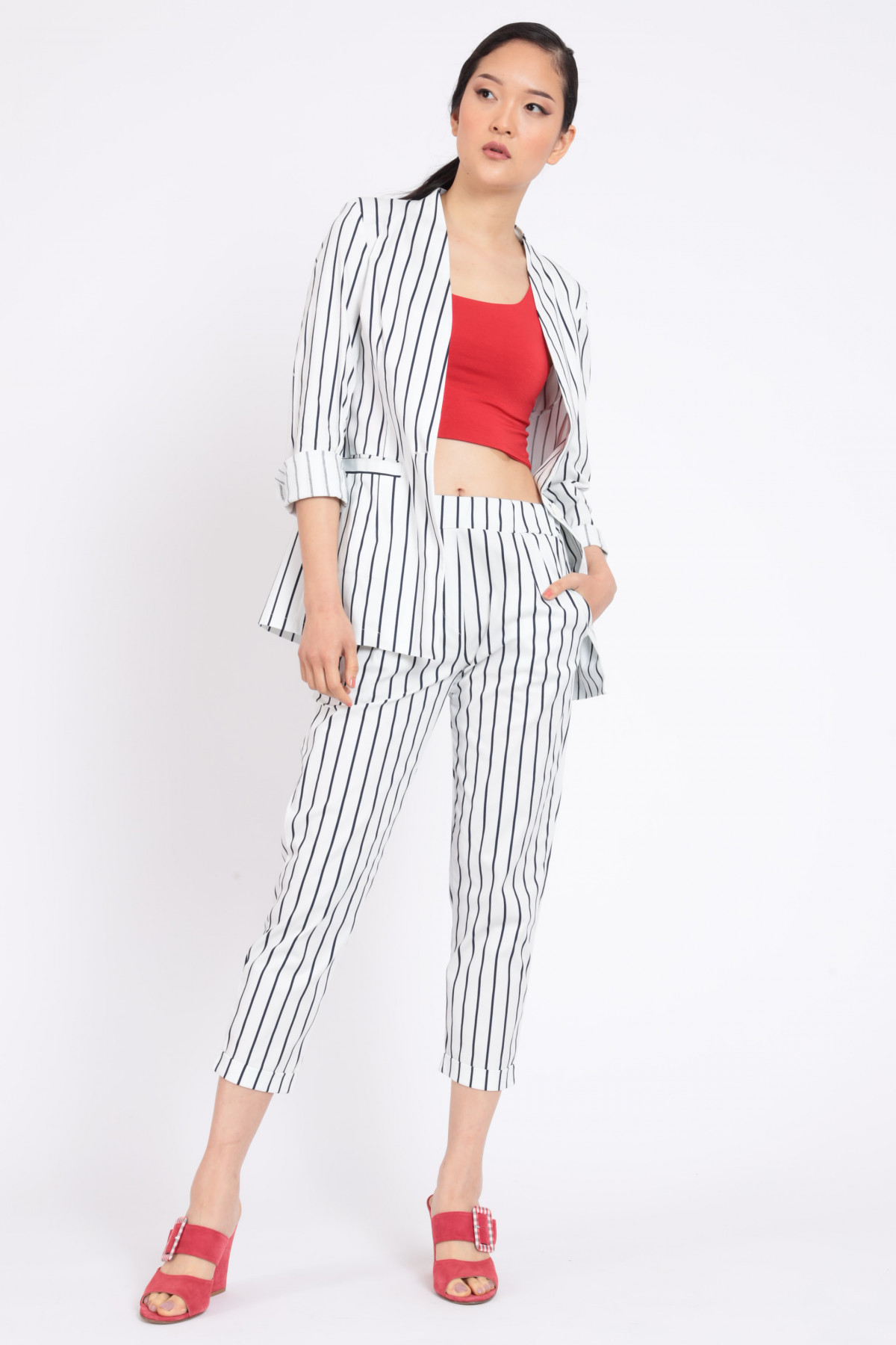 Pinstripe Jacket Without Rever