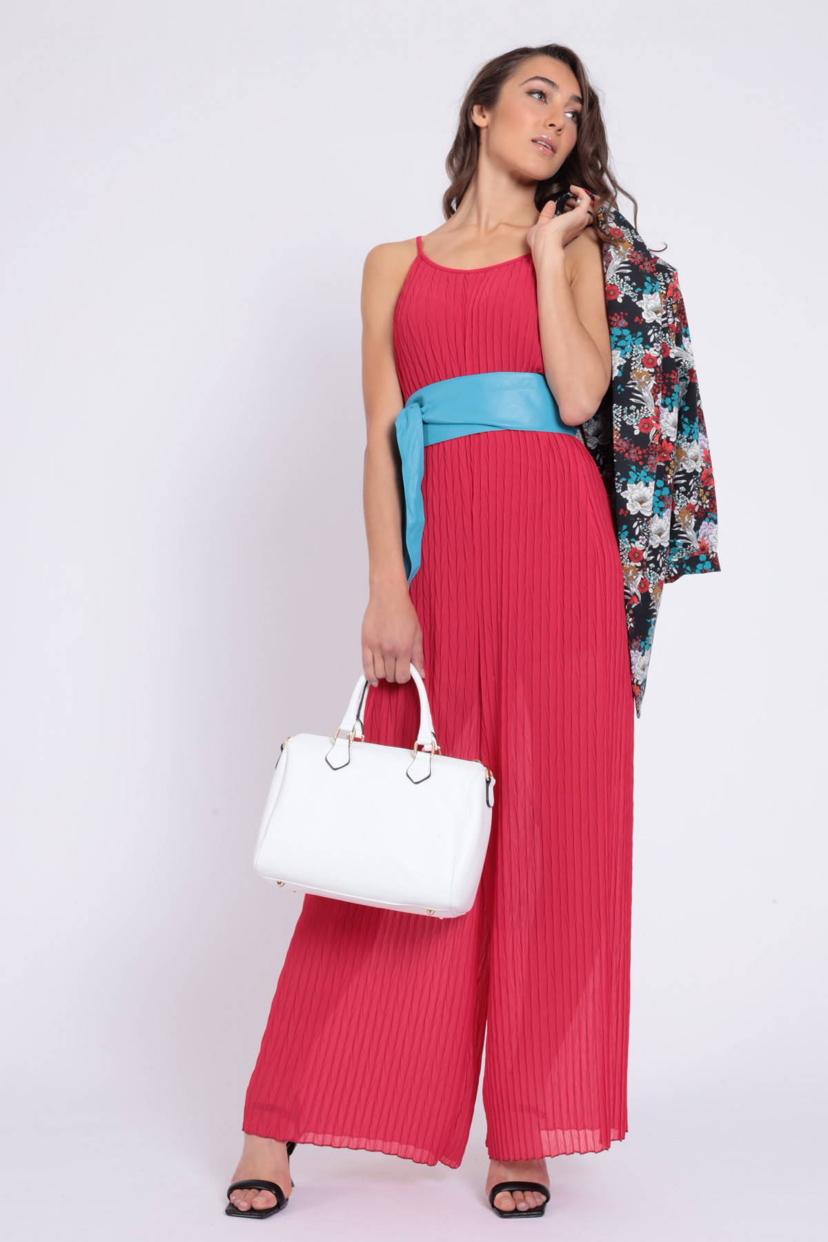 Pleated Jumpsuit Dress with Shoulder Strap