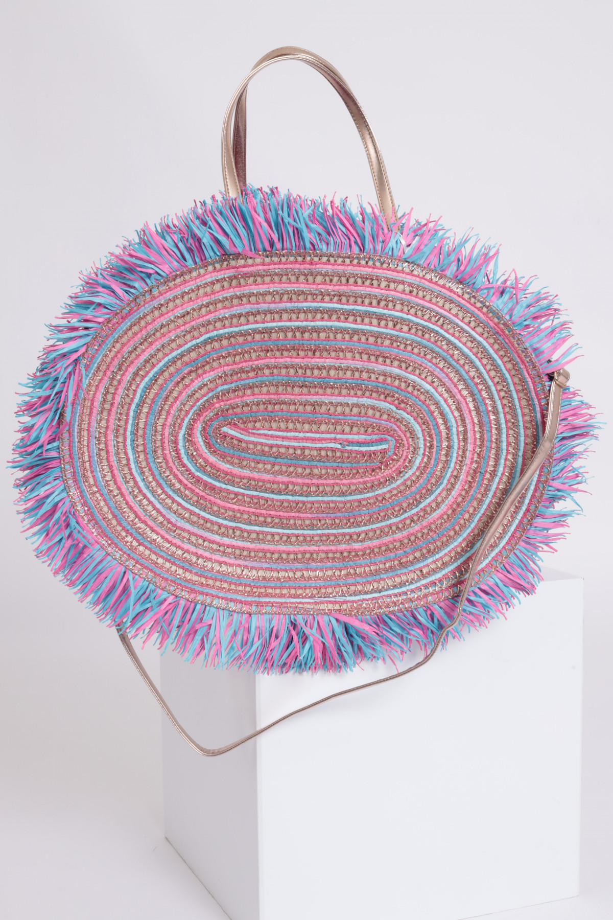 Circular Straw Bag with Fringes
