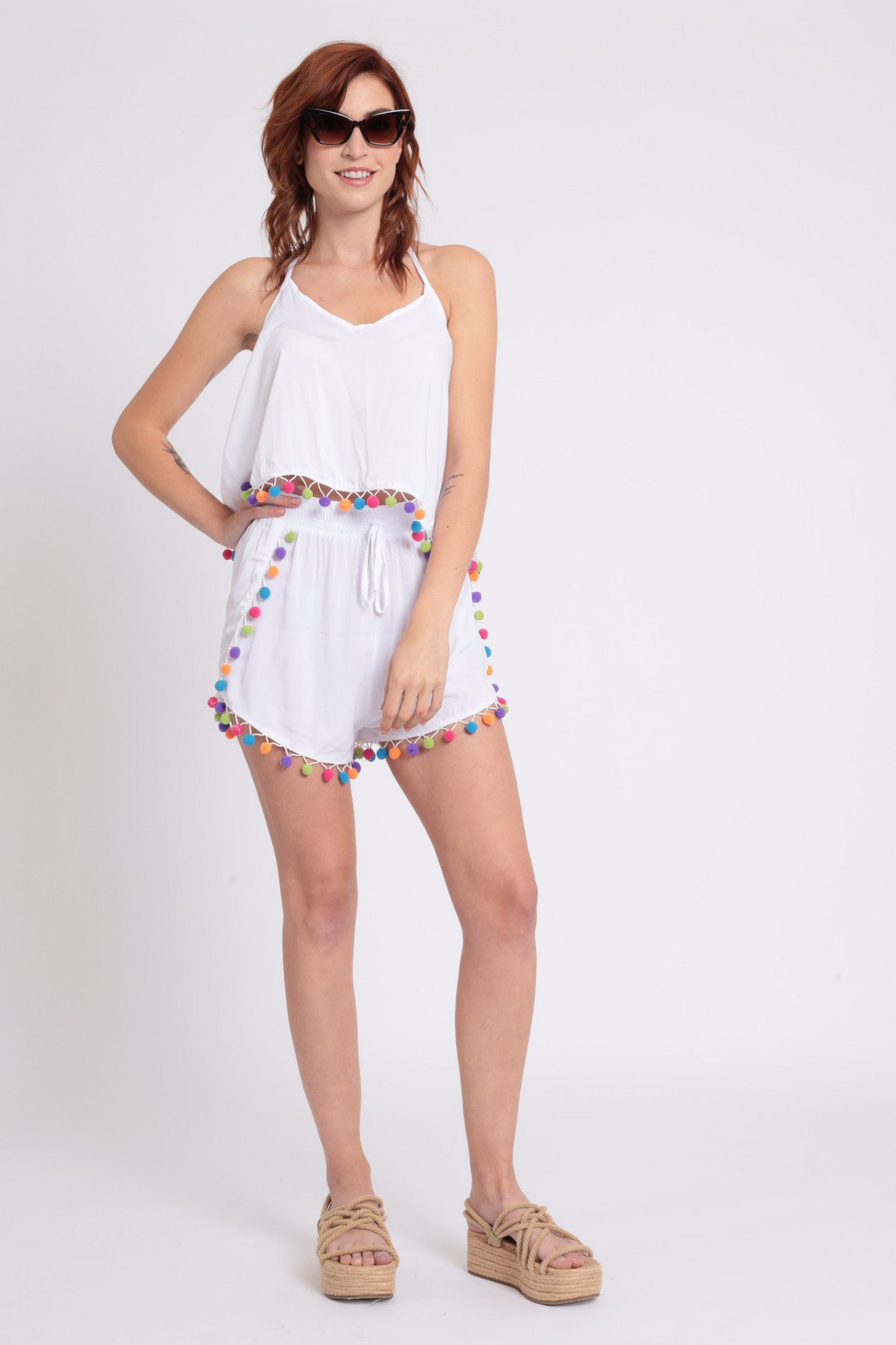 Complete Top and Shorts with Pompon Application
