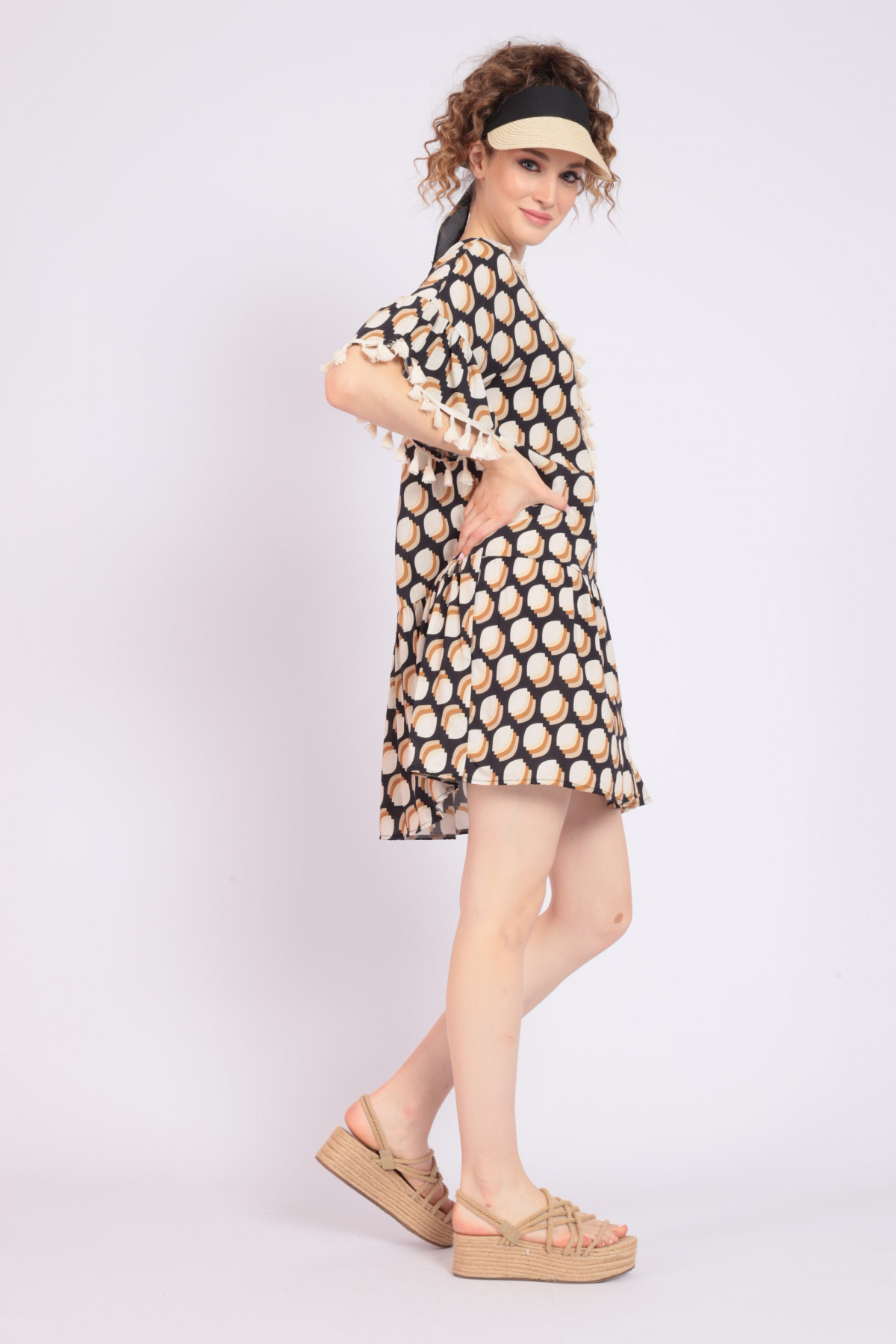 Dress with Embroidery and Tassels in Optical Fantasy Print