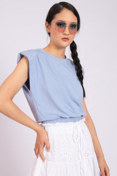 Sleeveless T-Shirt with Straps and Curled Bottom