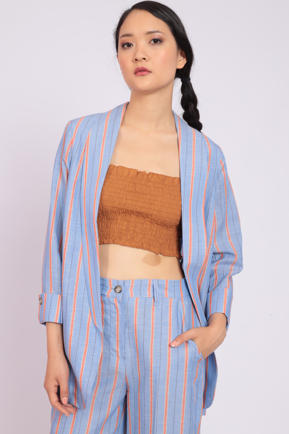 Unstructured Pinstripe Jacket with Shawl Lapel