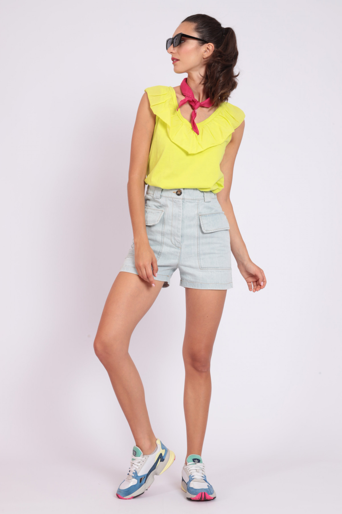 Denim Shorts with Front Pockets