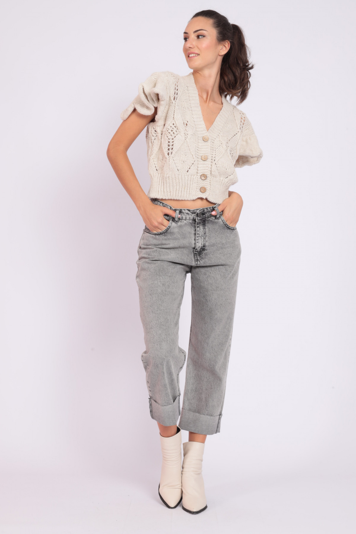 5-pocket cigarette jeans with raw cut lapel