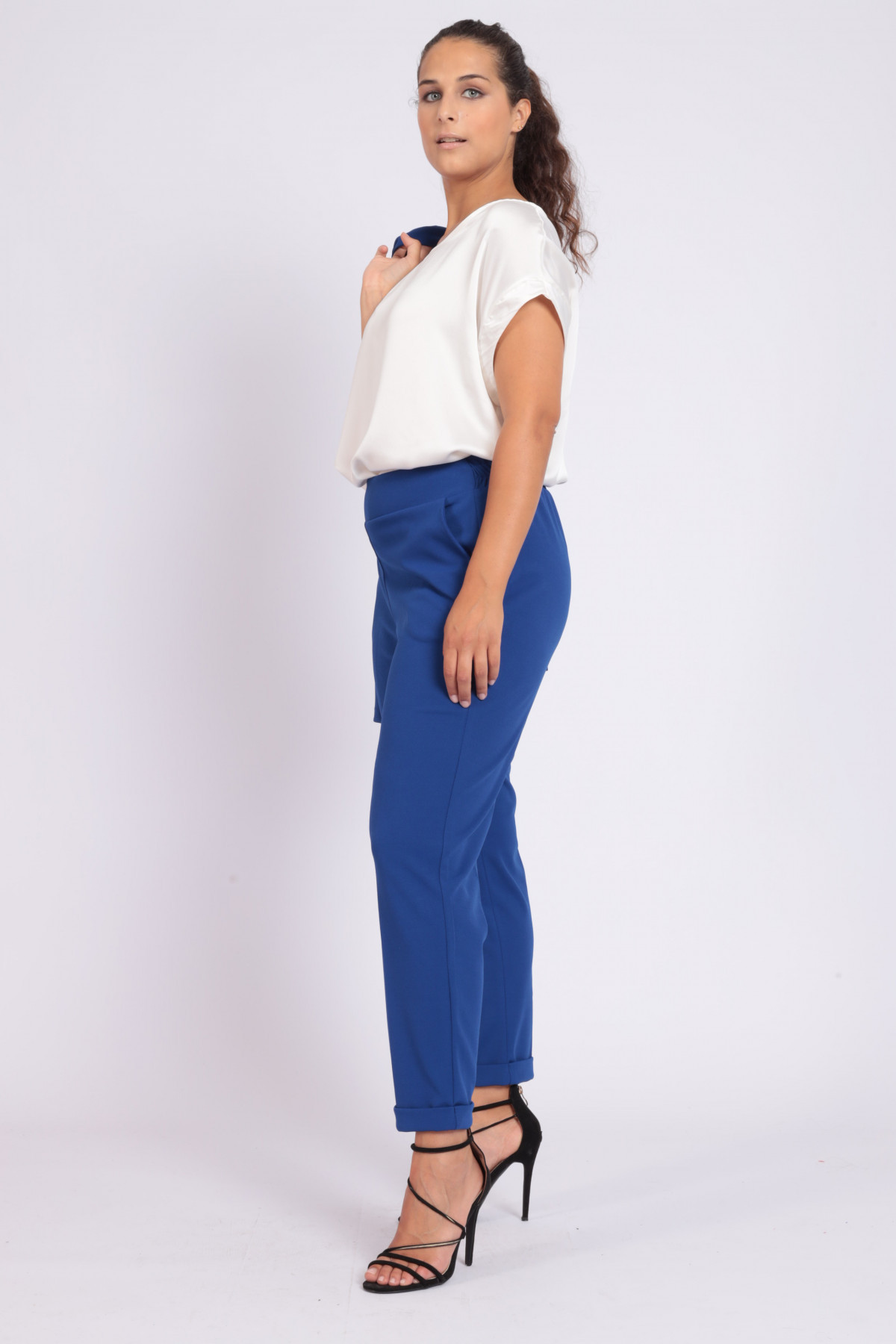 Cigarette Crepe Trousers with Elasticized Waist