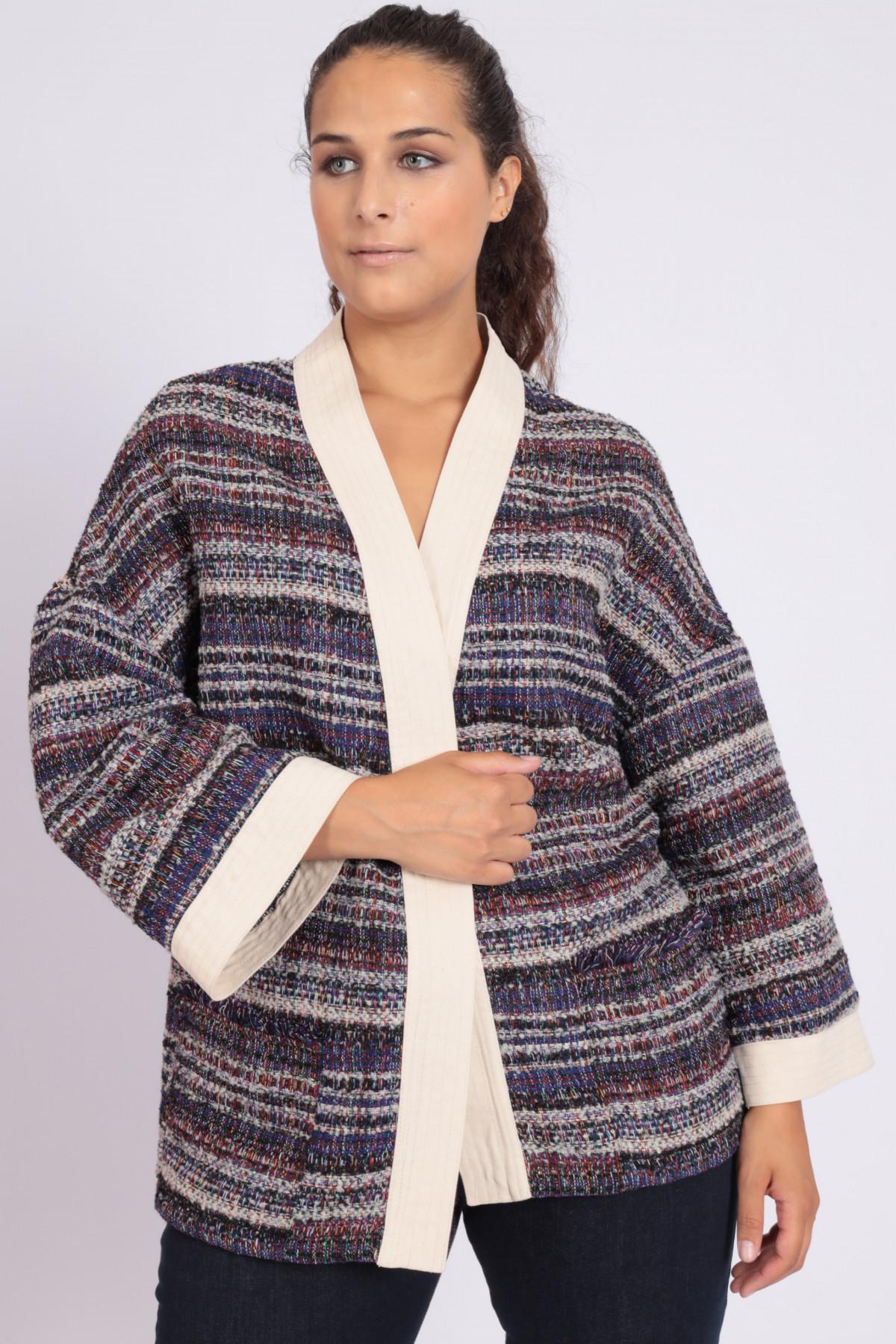 Kimono in Tweed con Bordo a Contrasto