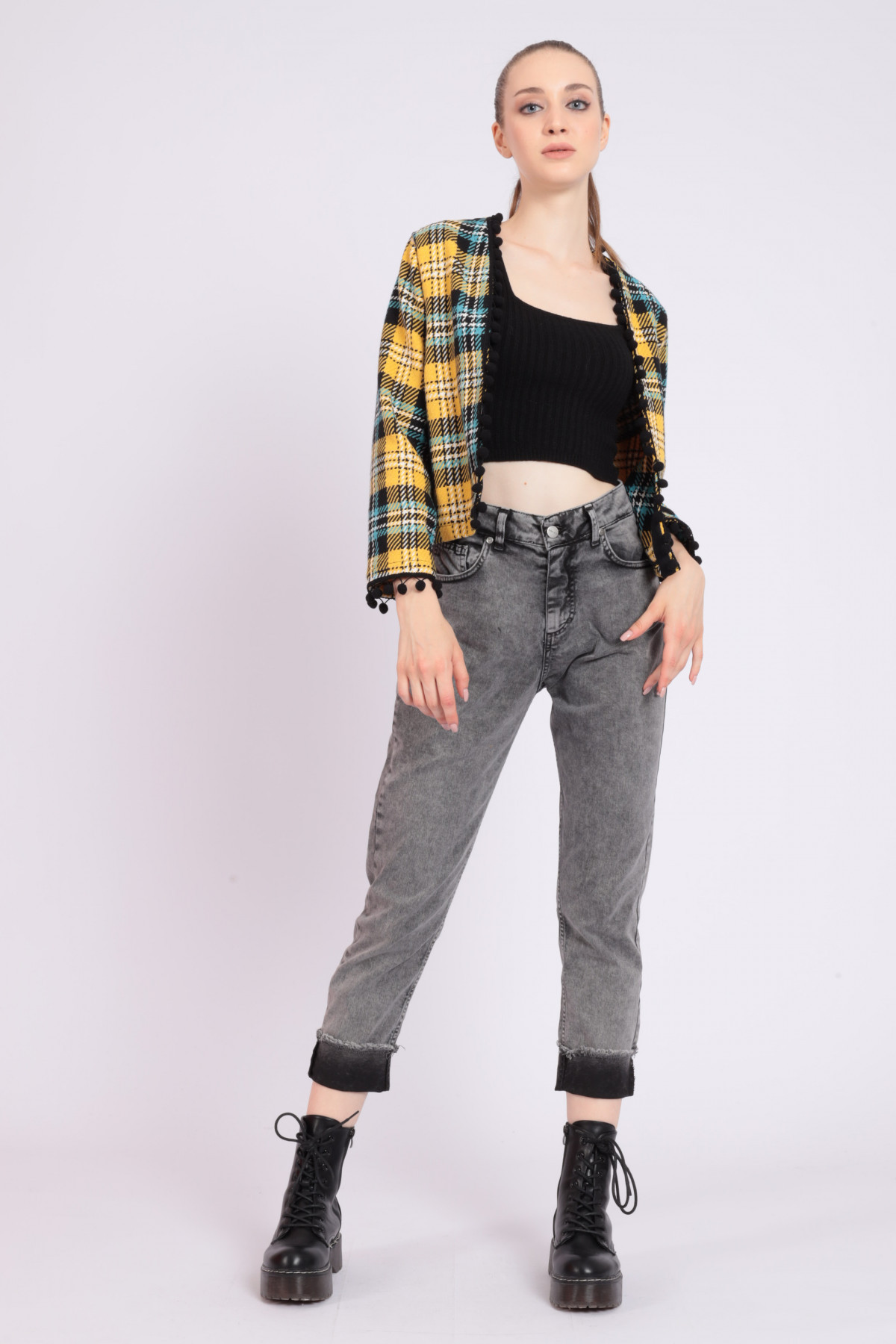 Marbled Jeans with Fringed Cuff