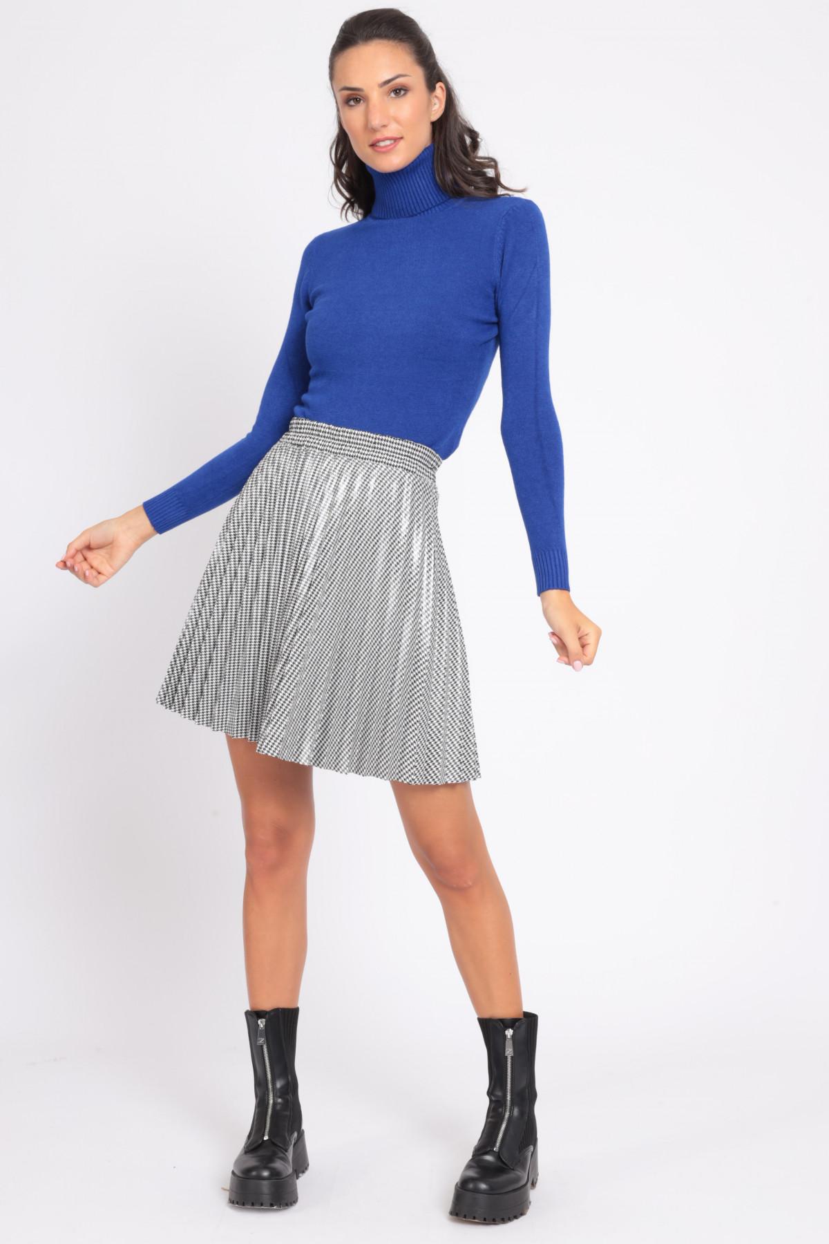 Pleated Coated Mini Skirt in Pied de Poule Pattern