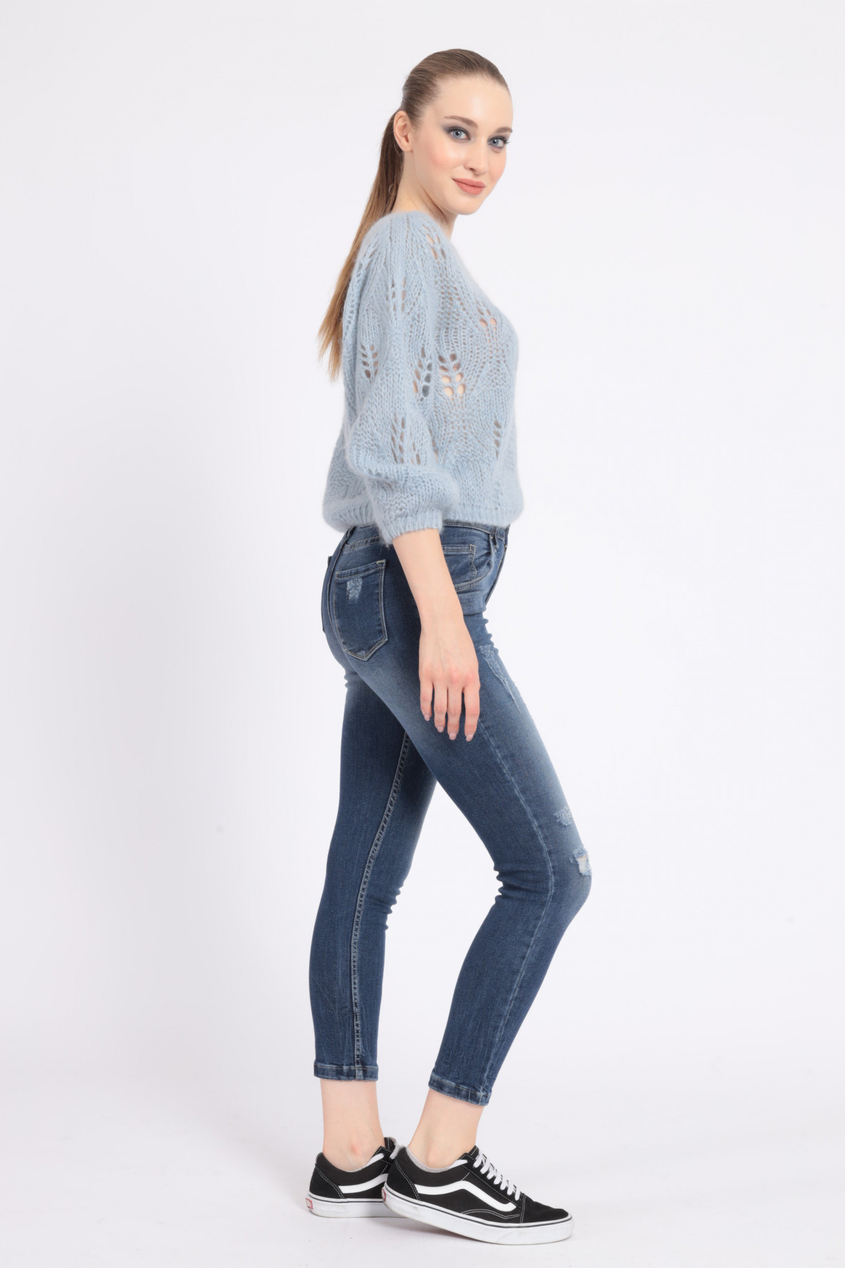 5 Pockets Skinny Jeans with Abrasions
