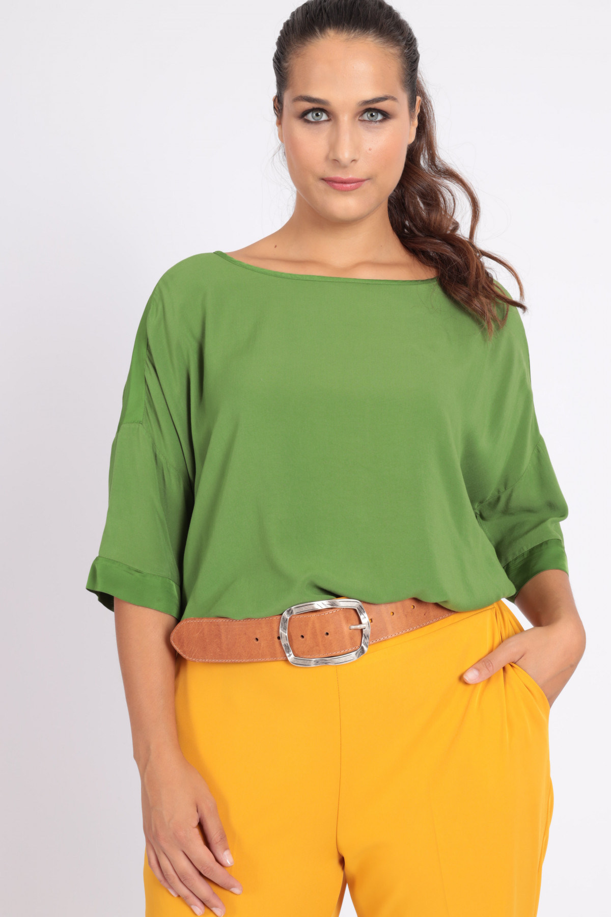 Over 1/2 Sleeve Satin Effect Blouse