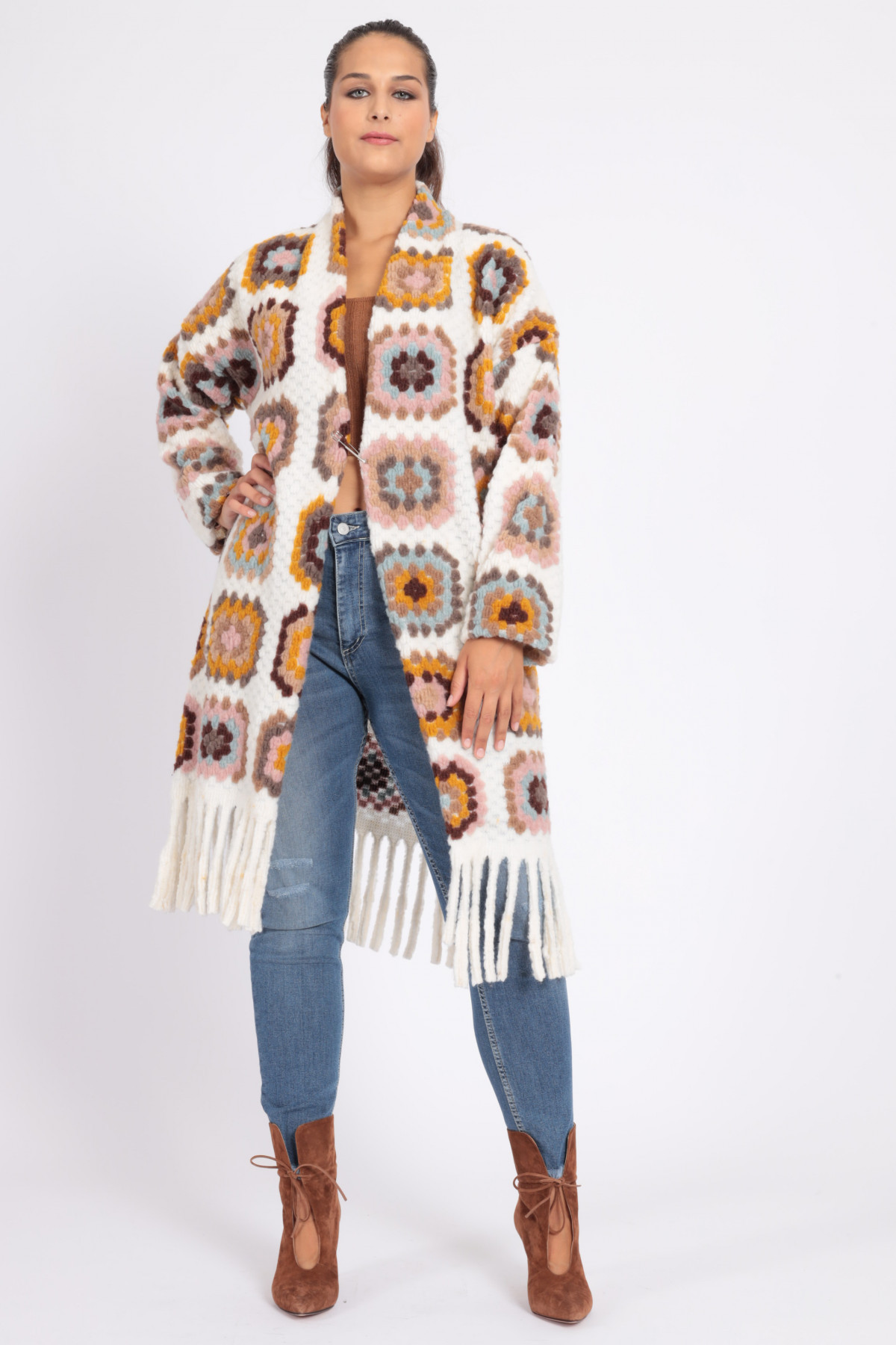 Crochet Patterned Jacket with Fringes