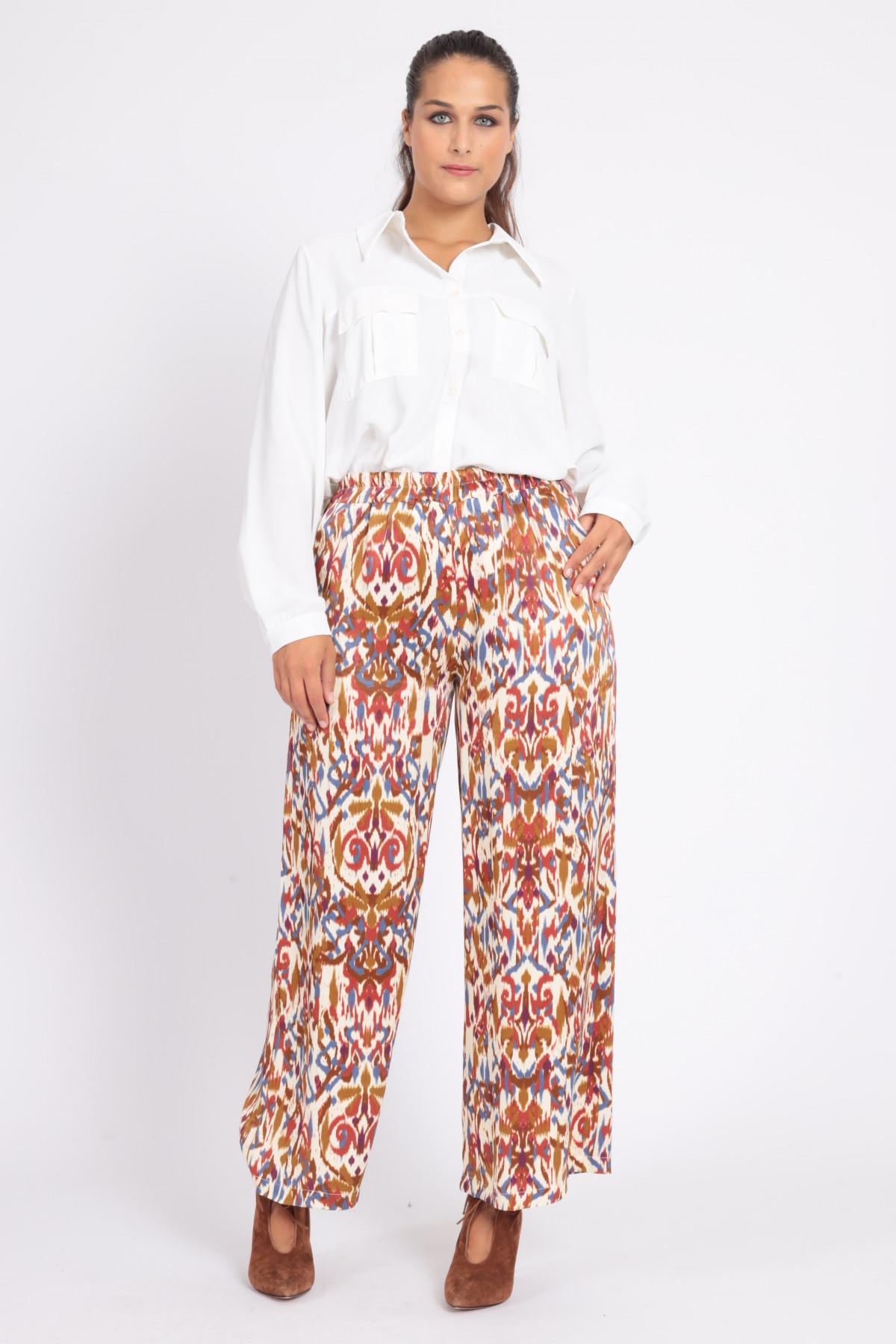 Pantaloni a Palazzo con Vita Elasticizzata in Stampa Fantasia Roschach Multicolor