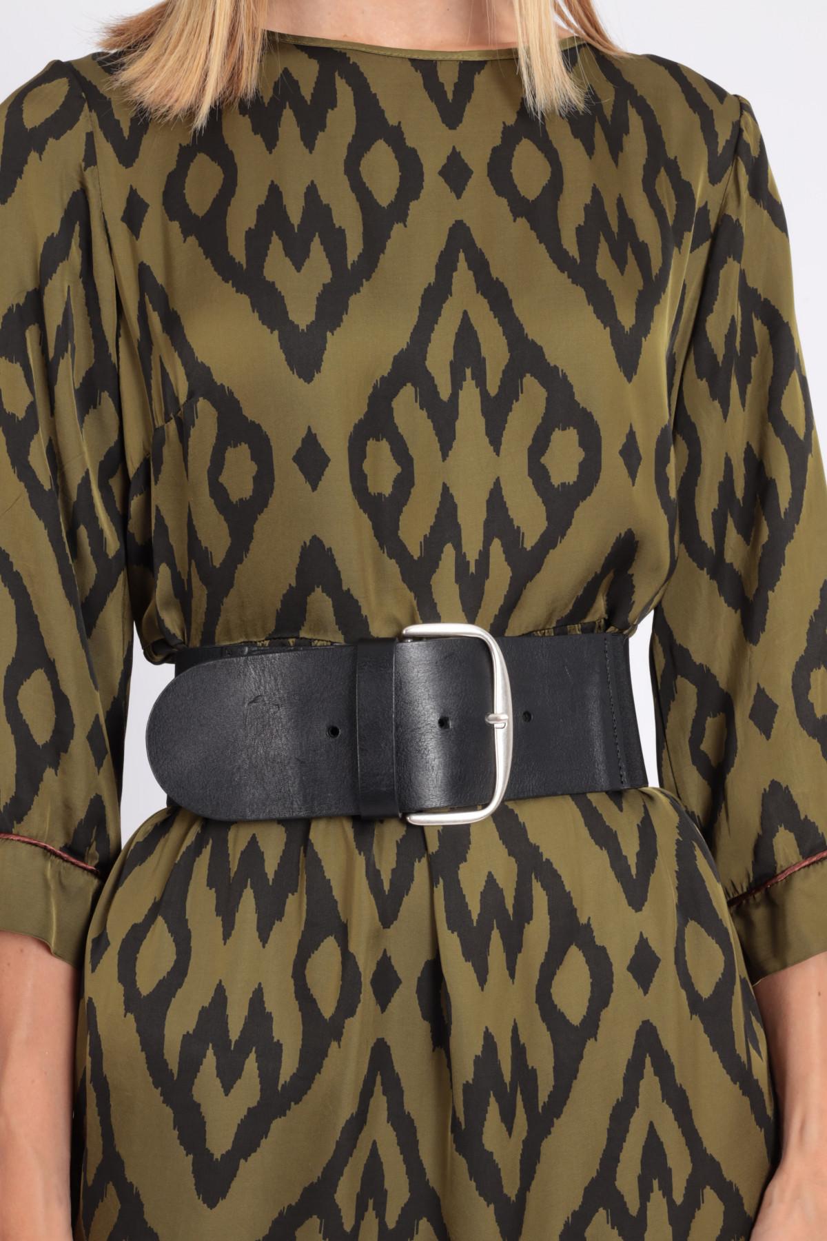Cintura Alta in Pelle con Retro Elasticizzato