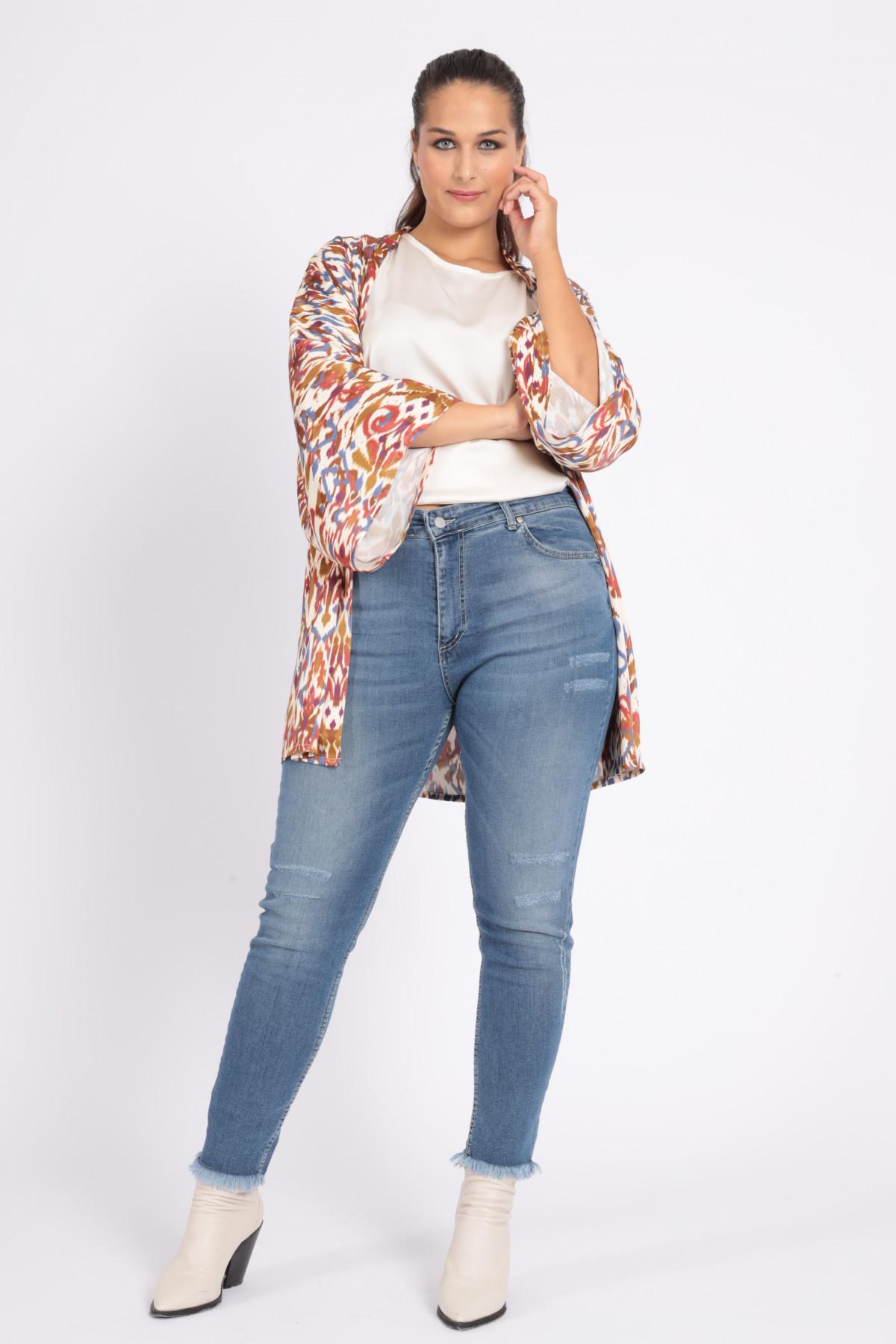 Jeans 5 Tasche Skinny con Fondo Sfrangiato