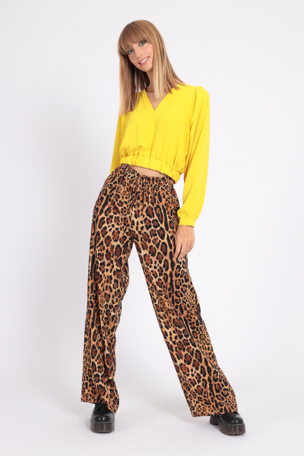 Pantaloni a Palazzo con Coulisse in Stampa Fantasia Animalier