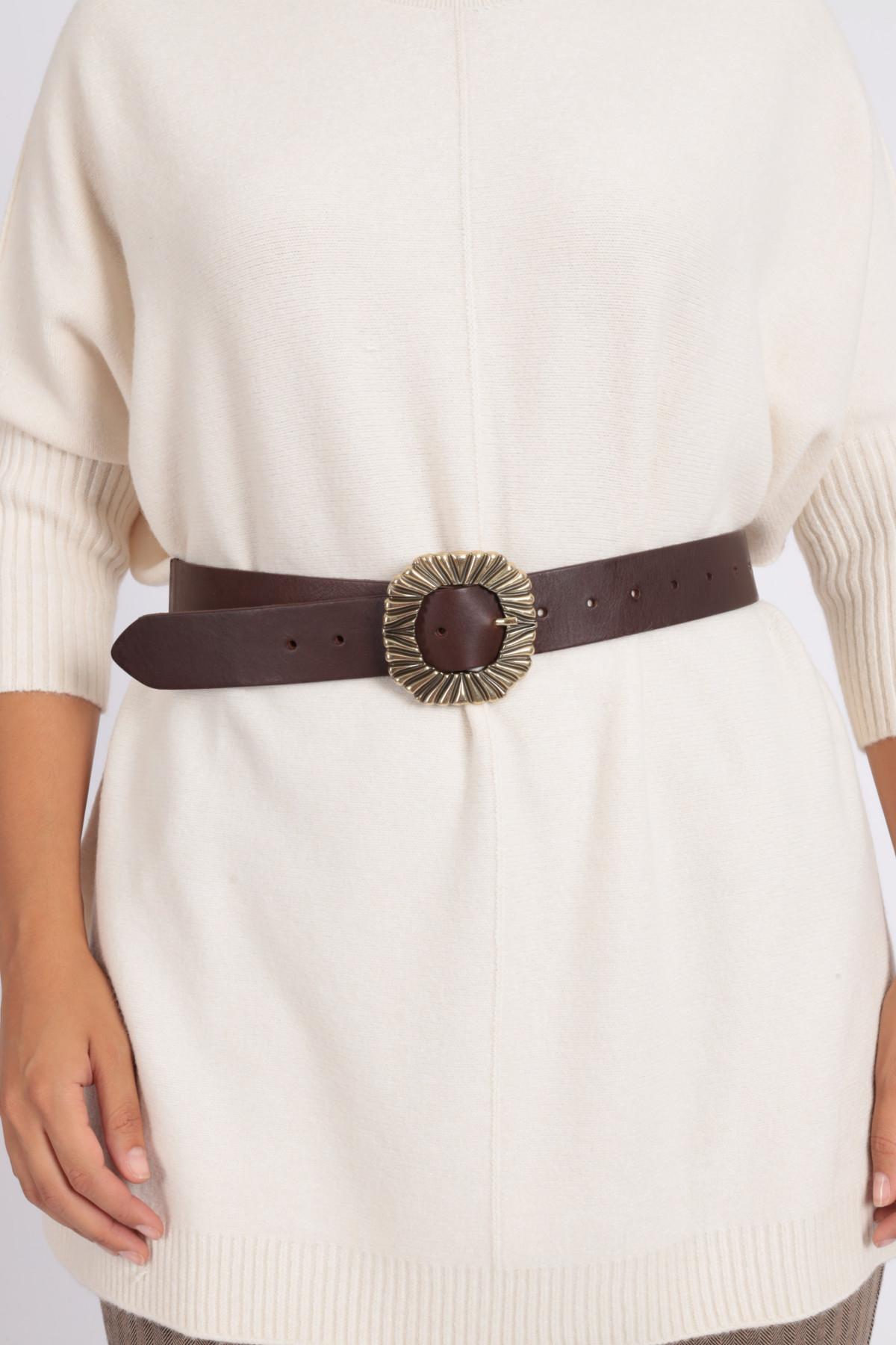 Cintura in Pelle con Fibbia Stampata e Retro Elasticizzato