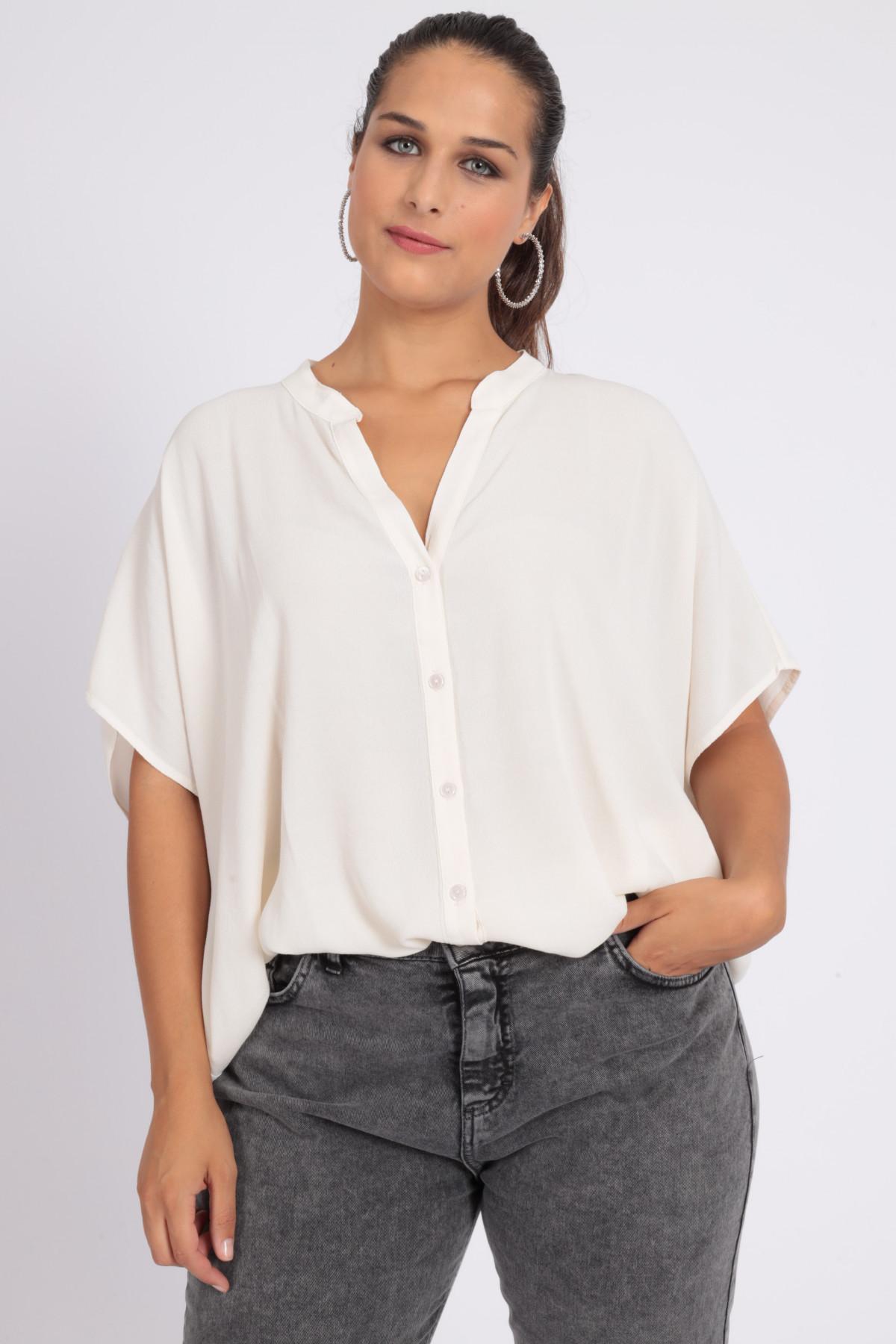 1/2 Sleeve Shirt Over Mandarin Collar