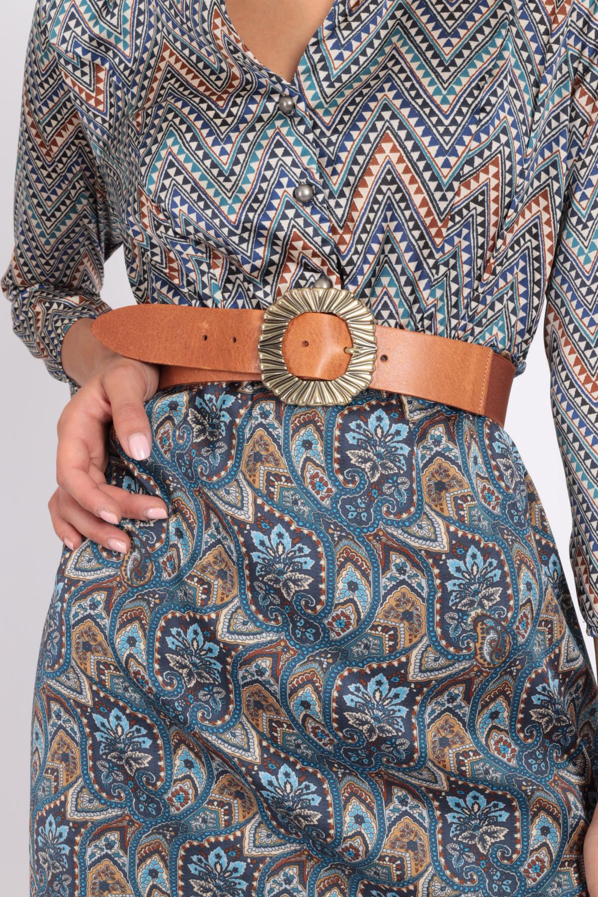 Cintura in Pelle con Fibbia Circolare Stampata e Retro Elasticizzato