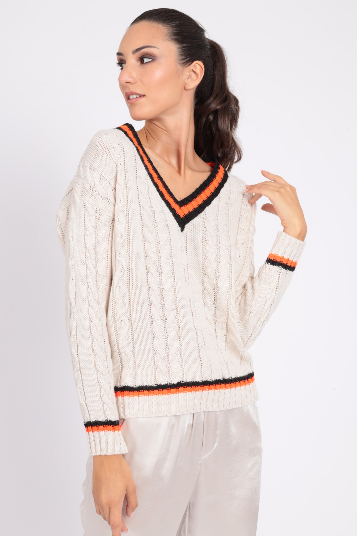 Braided V-Neck Pullover