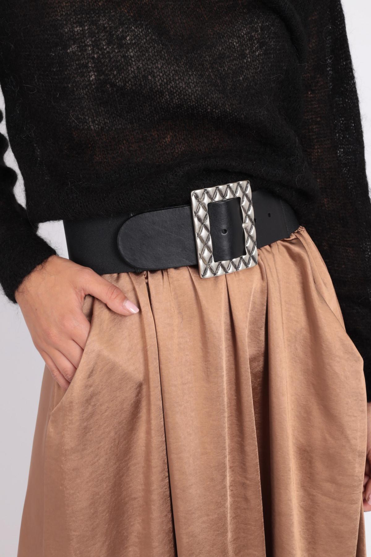Cintura in Pelle con Fibbia Rettangolare Stampata