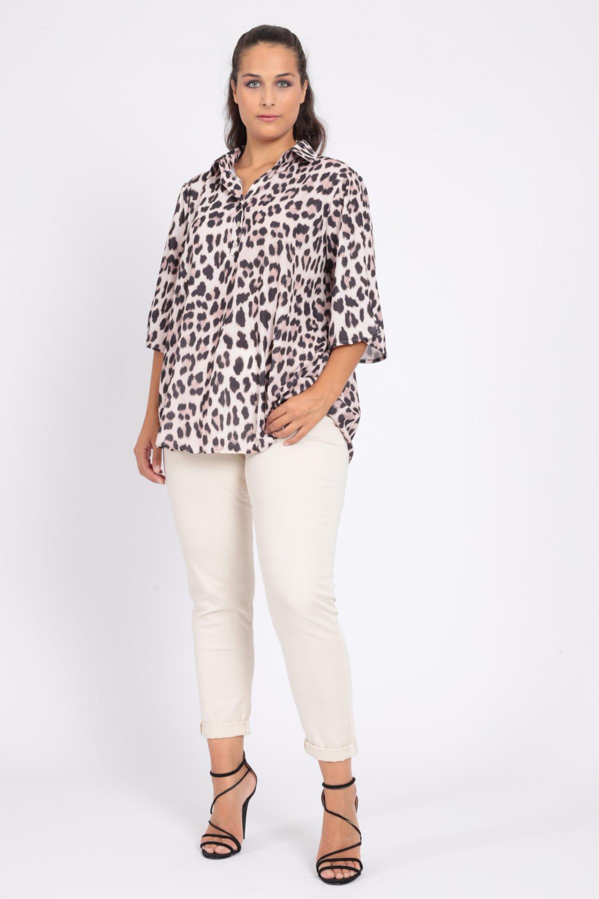1/2 Sleeve Shirt in Animalier Print