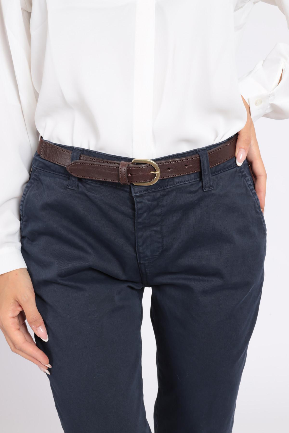 Cintura in Pelle Bassa con Retro Elasticizzato