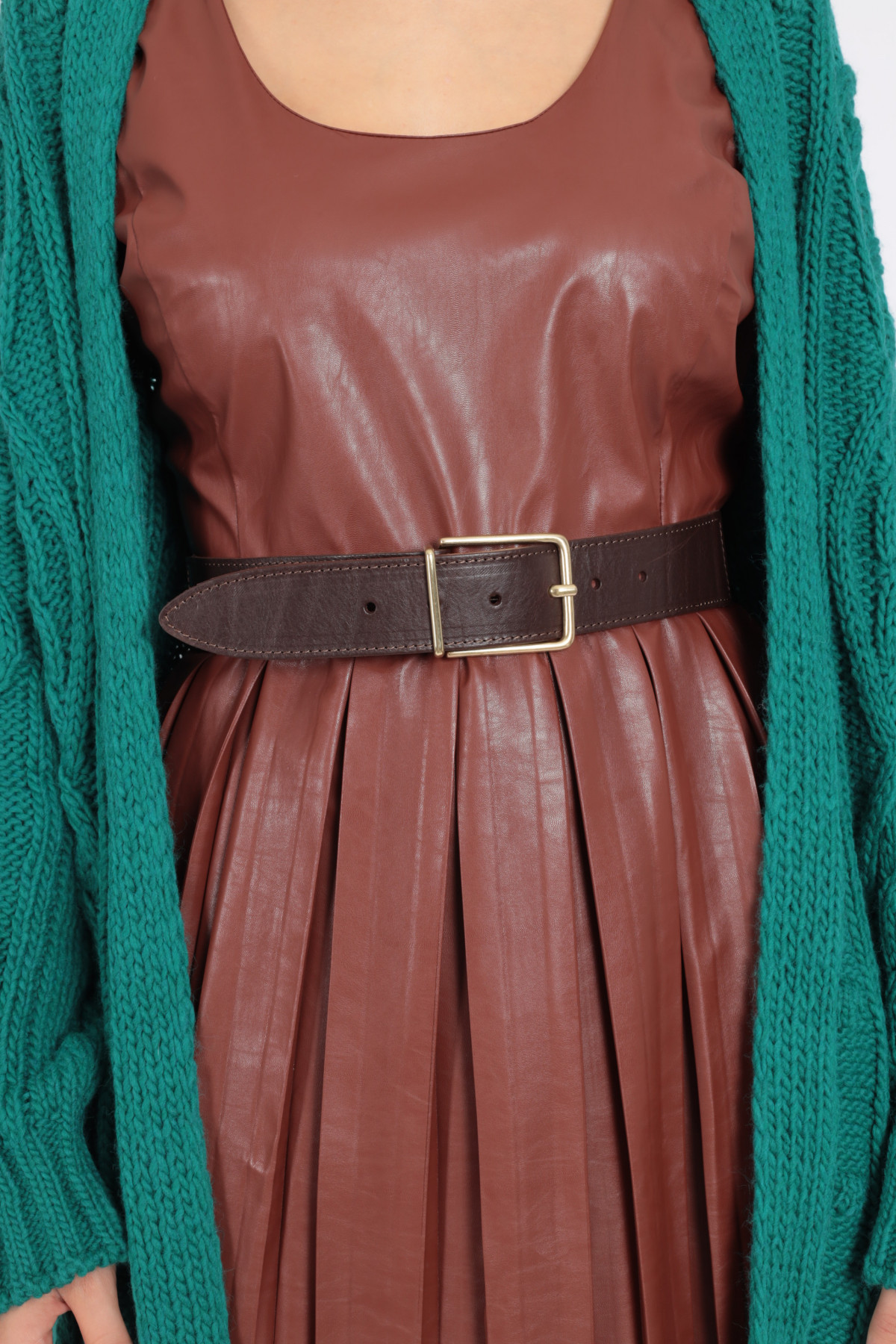Leather Belt with Thin Buckle