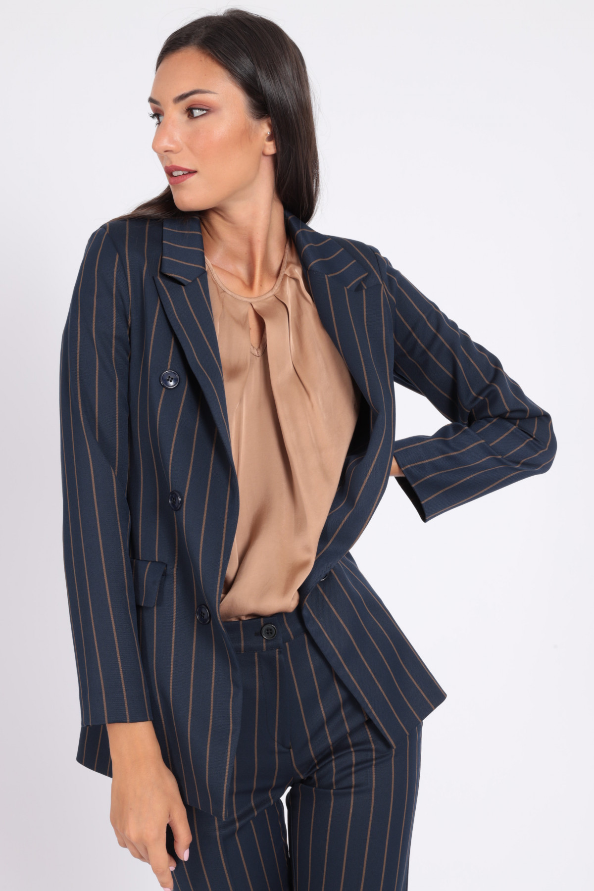 Double Breasted Pinstripe Jacket with Classic Revers
