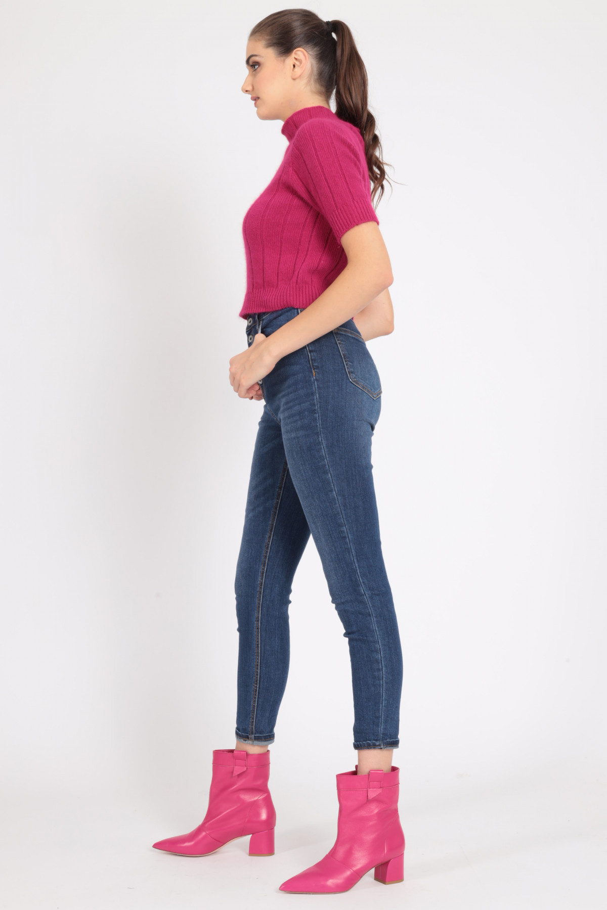 5 Pockets High Waist Skinny Stretch Jeans