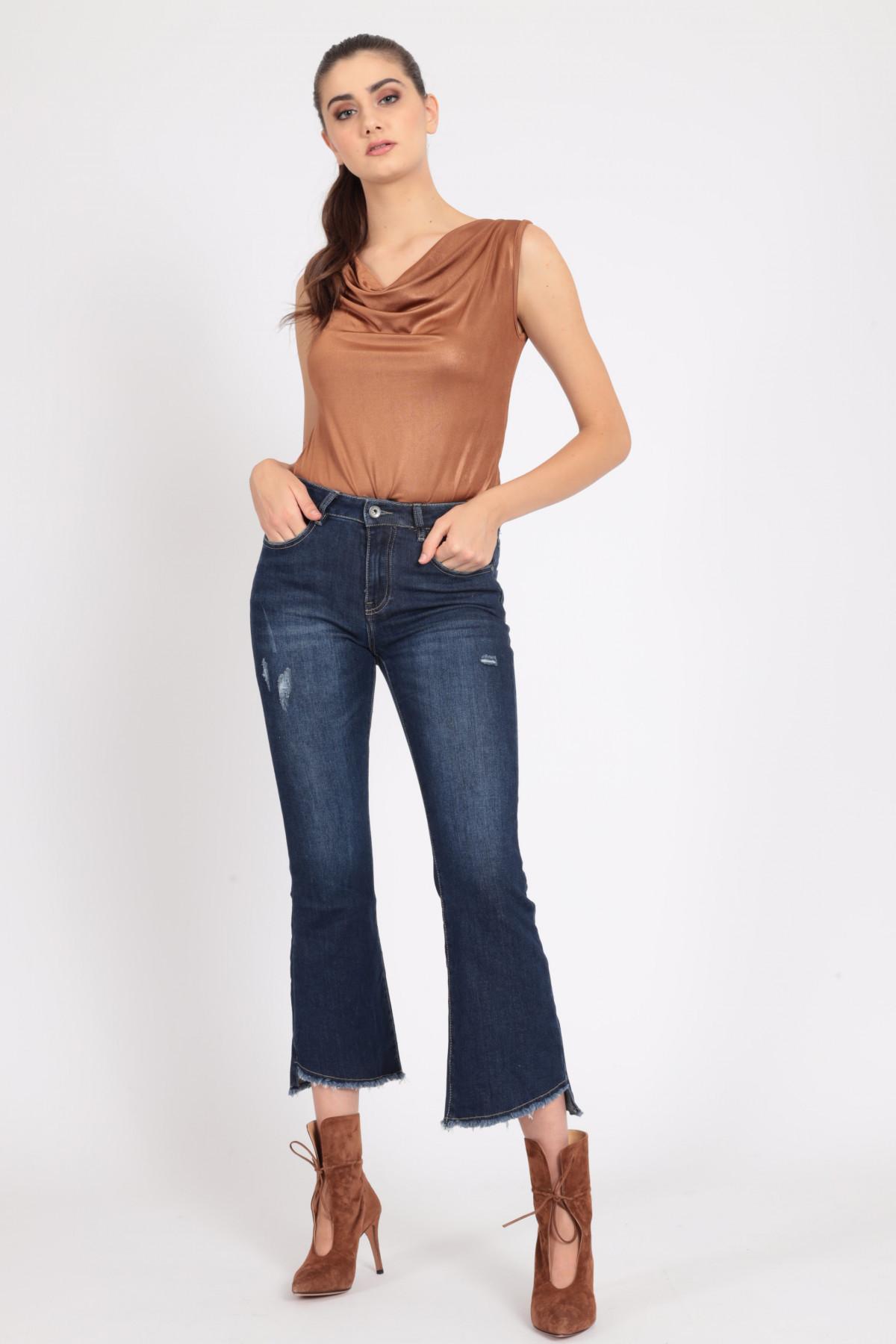 Jeans 5 Tasche a Trombetta con Abrasioni