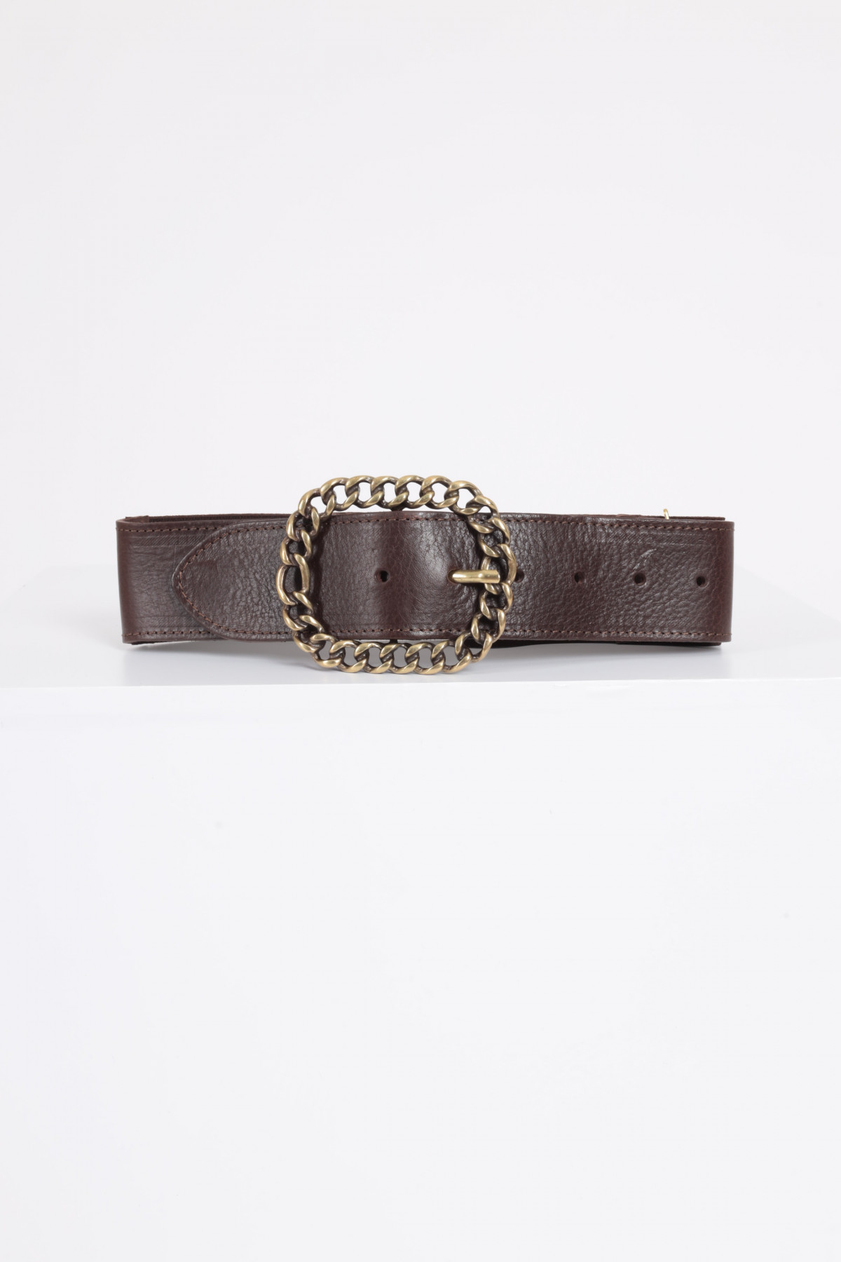 Leather Belt with Chain Buckle