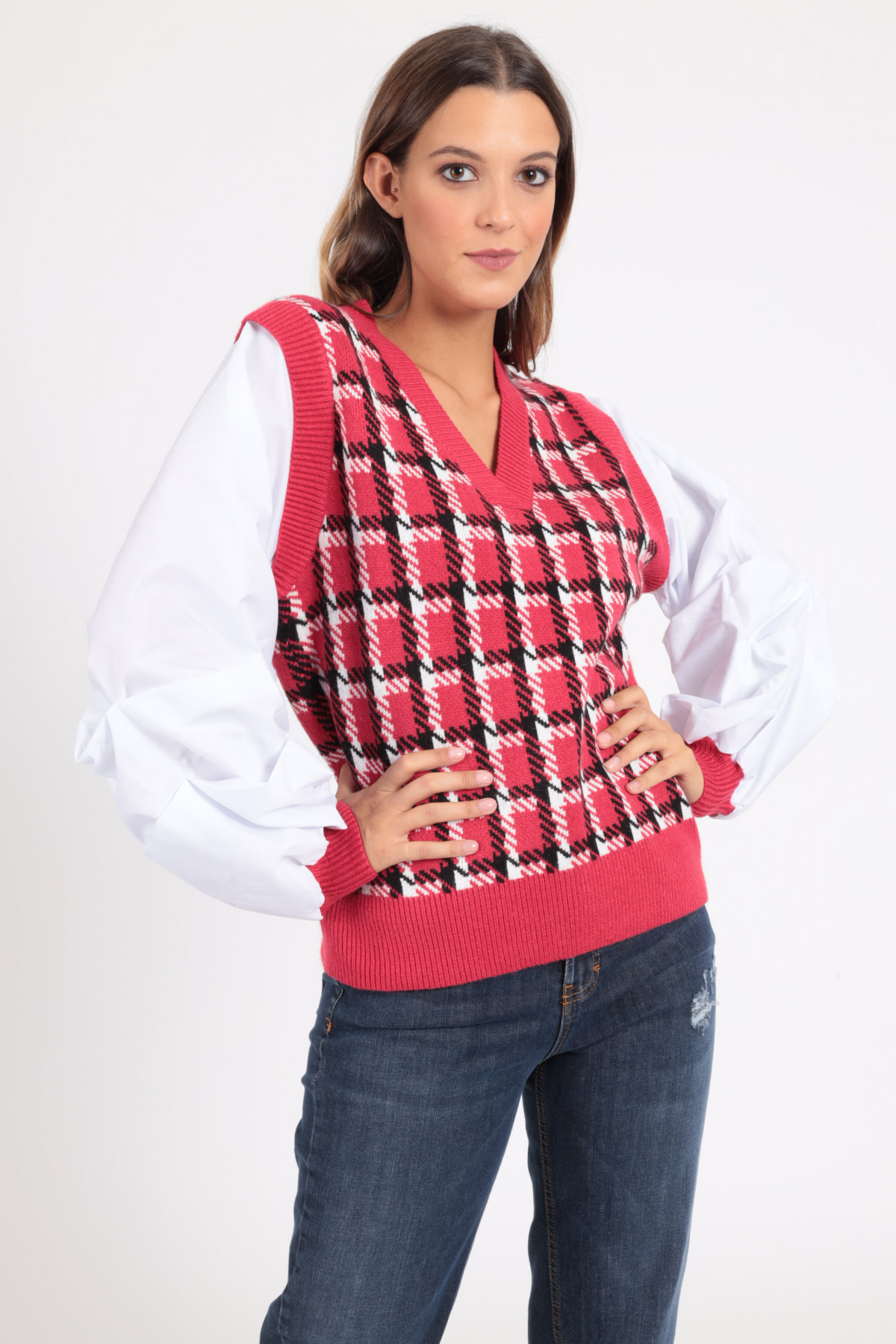 Vest with Puff Shirt Sleeves