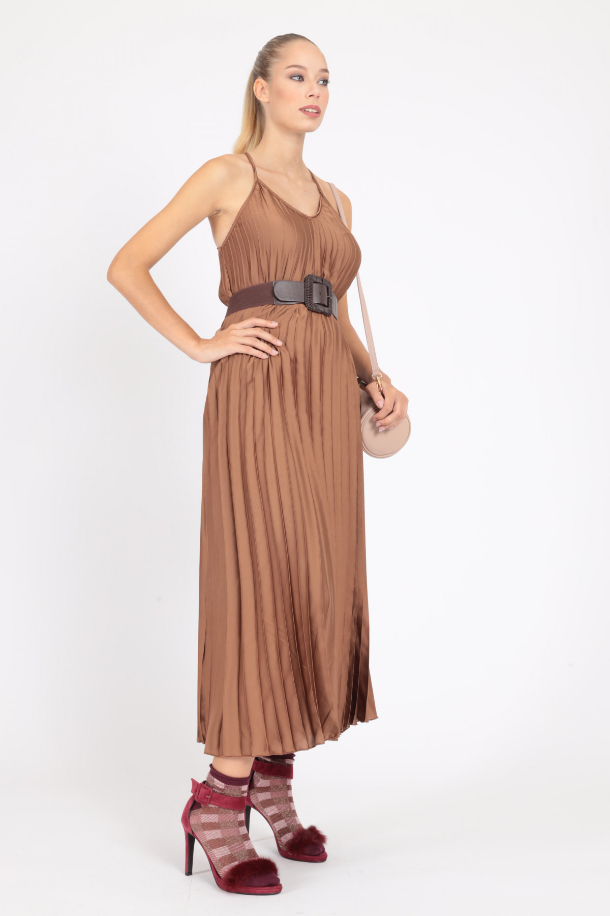 Long Dress with Thin Straps Plisse' Satin Effect