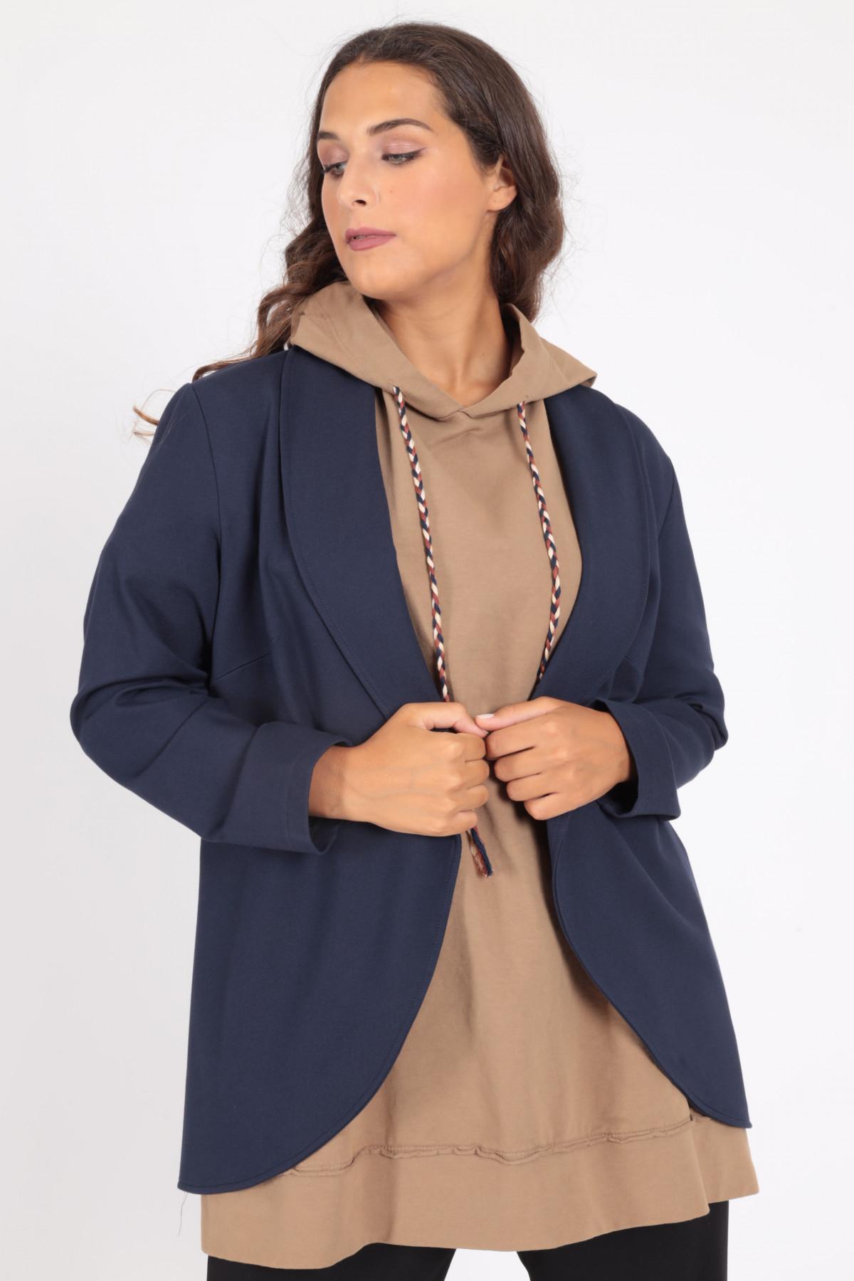 Asymmetrical Jacket with Shawl Lapel