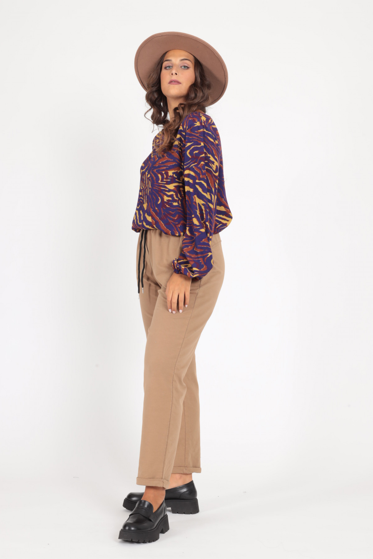 High Waist Sweatpants with Drawstring