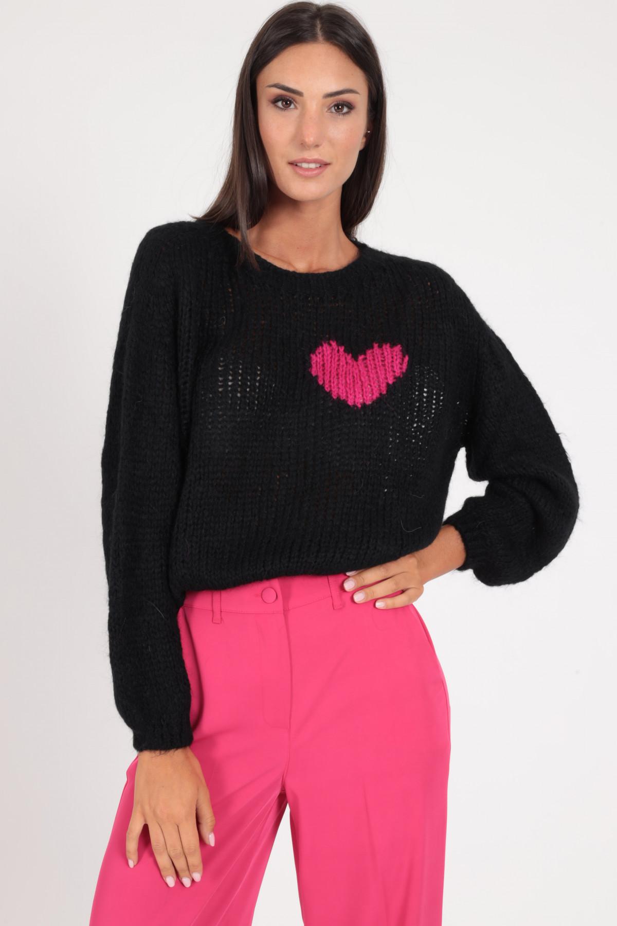 """Pullover Crop Scollo Barca """"One Heart"""""""