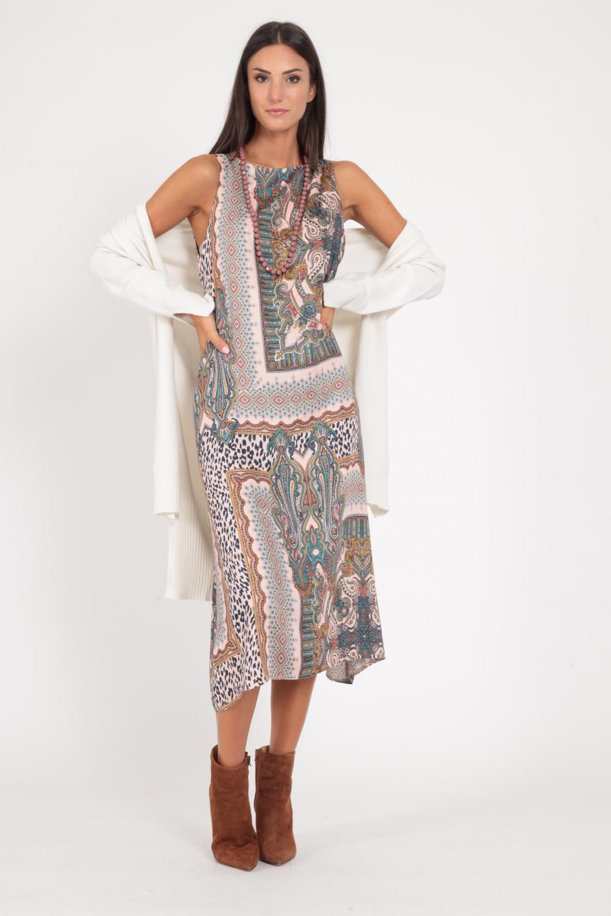 Sleeveless Dress in Patchwork Fantasy Print