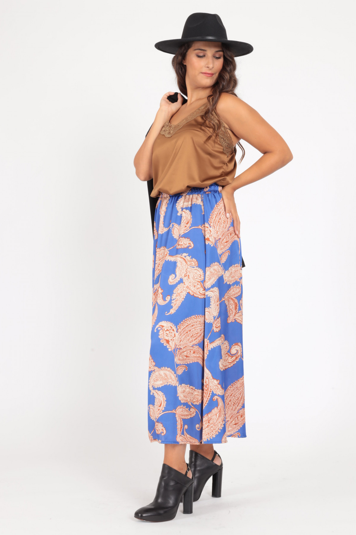Long Satin Effect Skirt with Cashmere Pattern