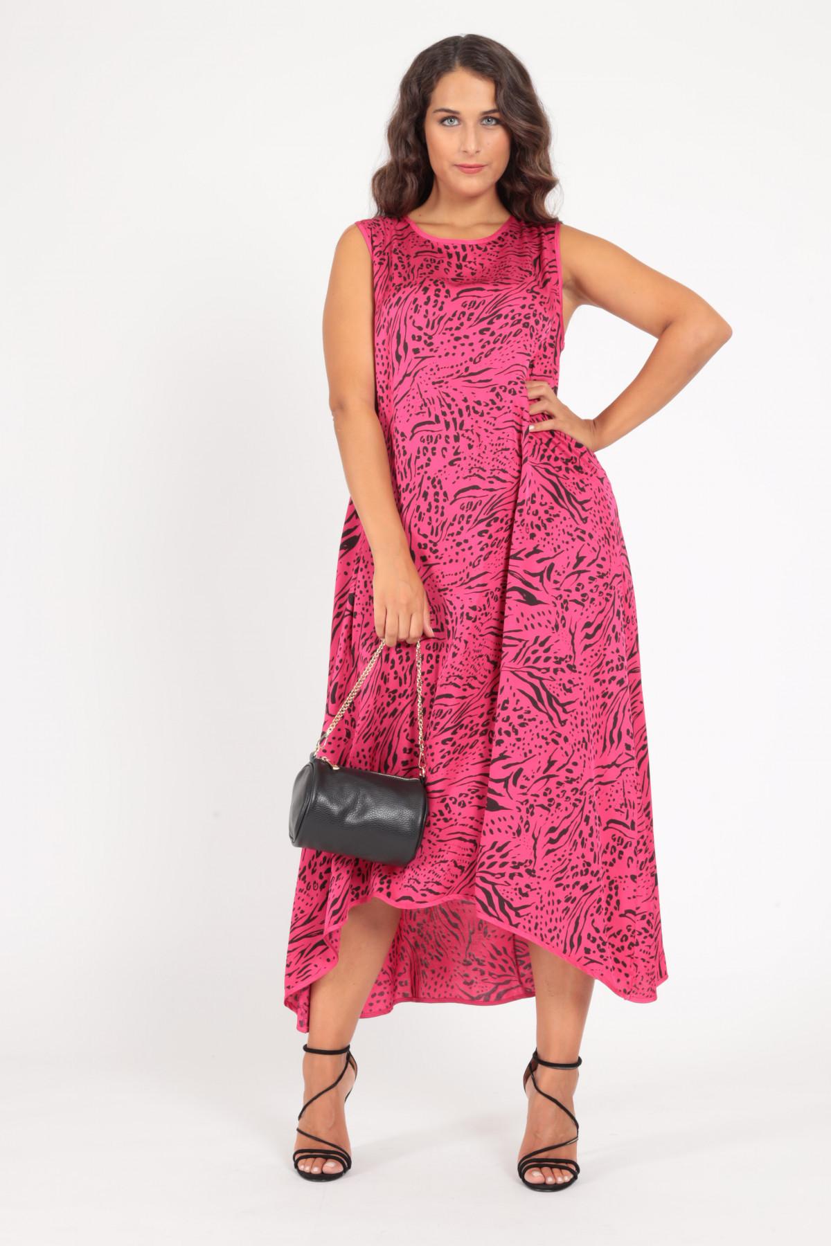 Sleeveless Satin Effect Dress in Animalier Print