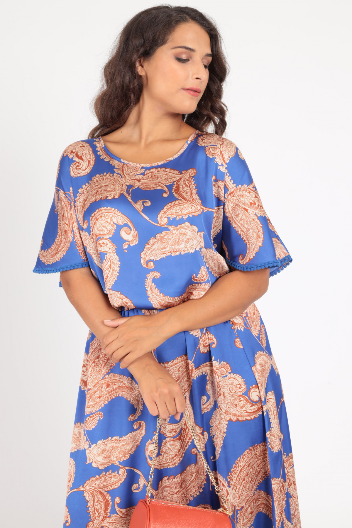 1/2 Sleeve Boat Neck Blouse in Cashmere Fantasy Print