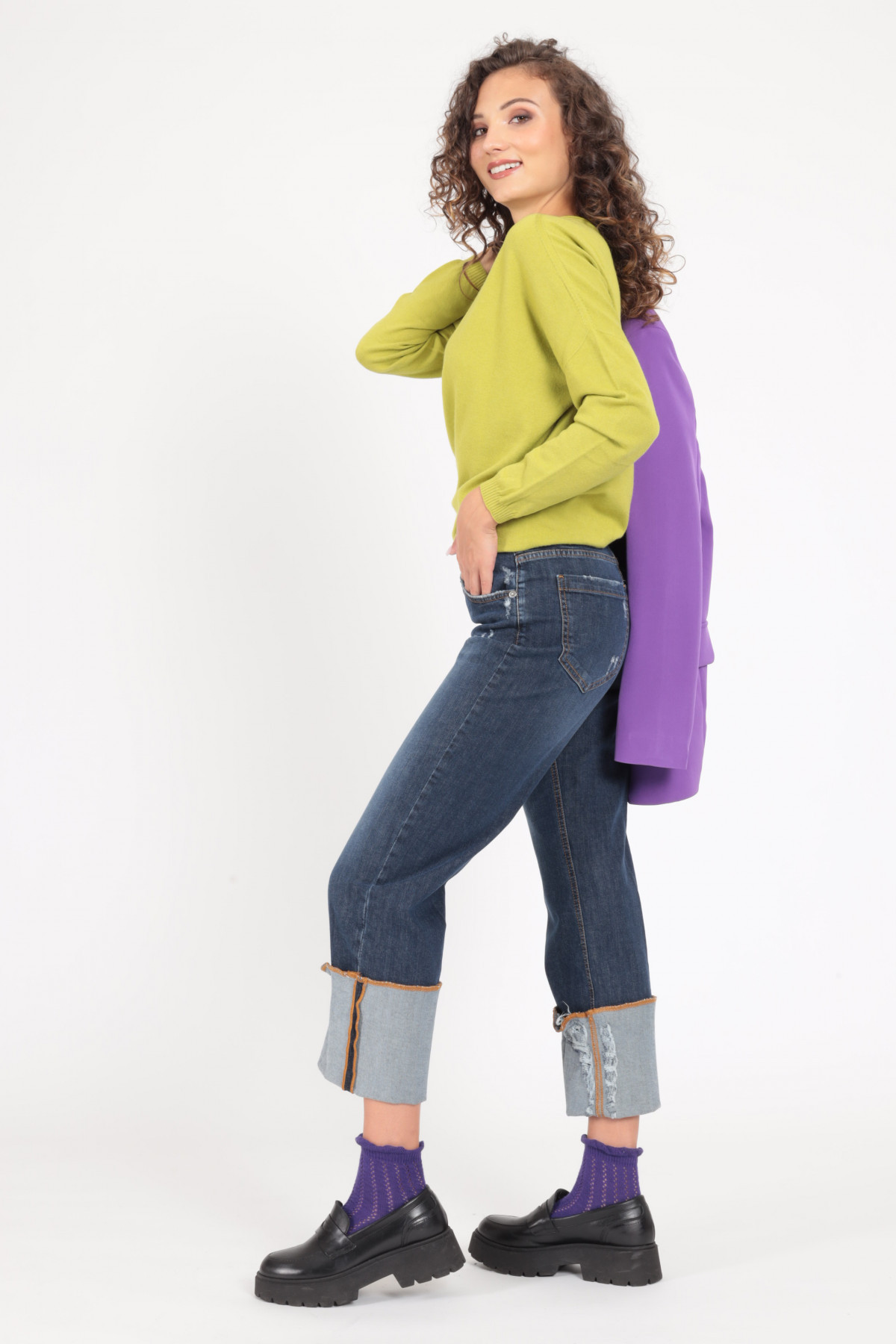 5 Pockets Jeans with High Cuff and Abrasions