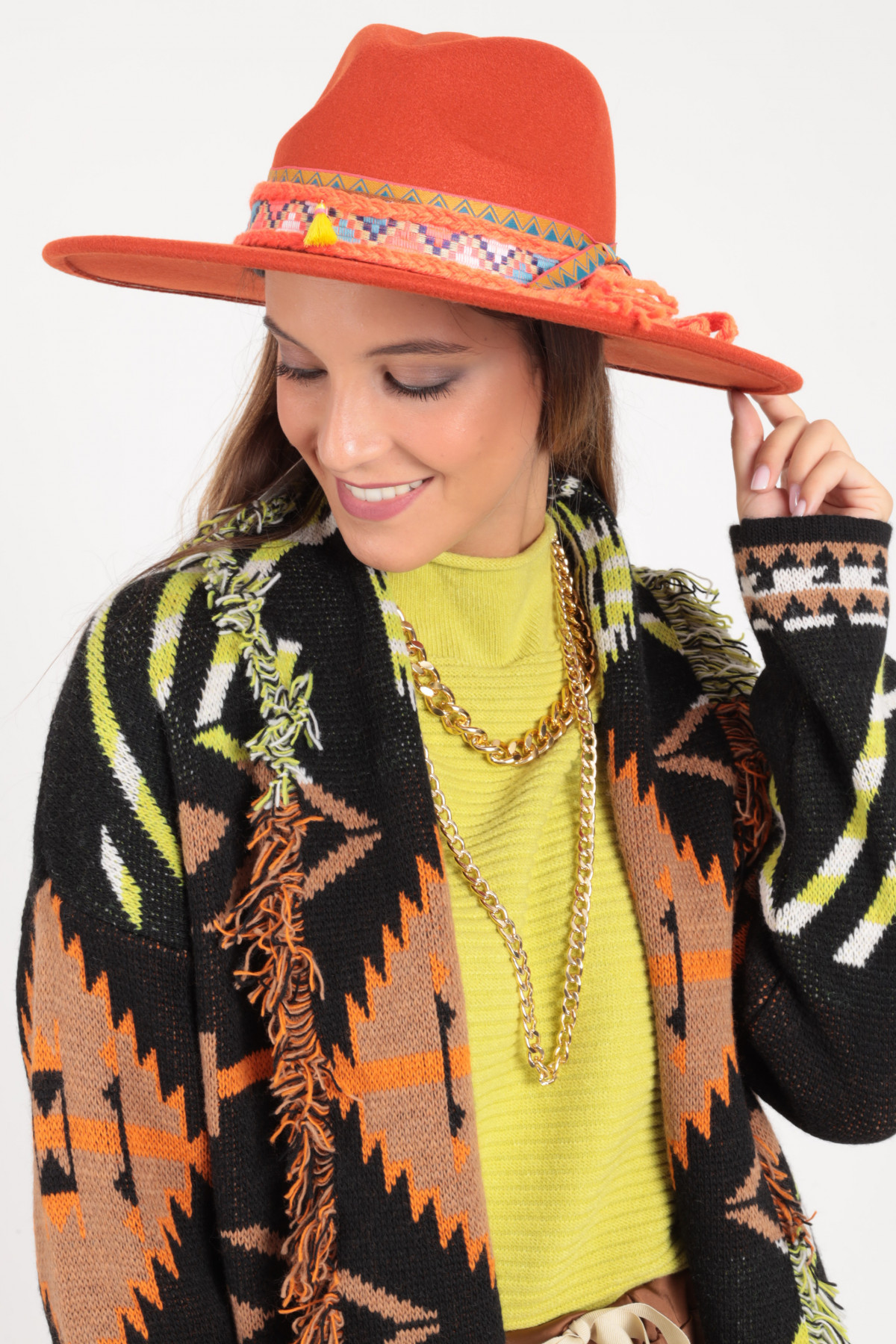 Wide Brim Hat with Aztec Accessory