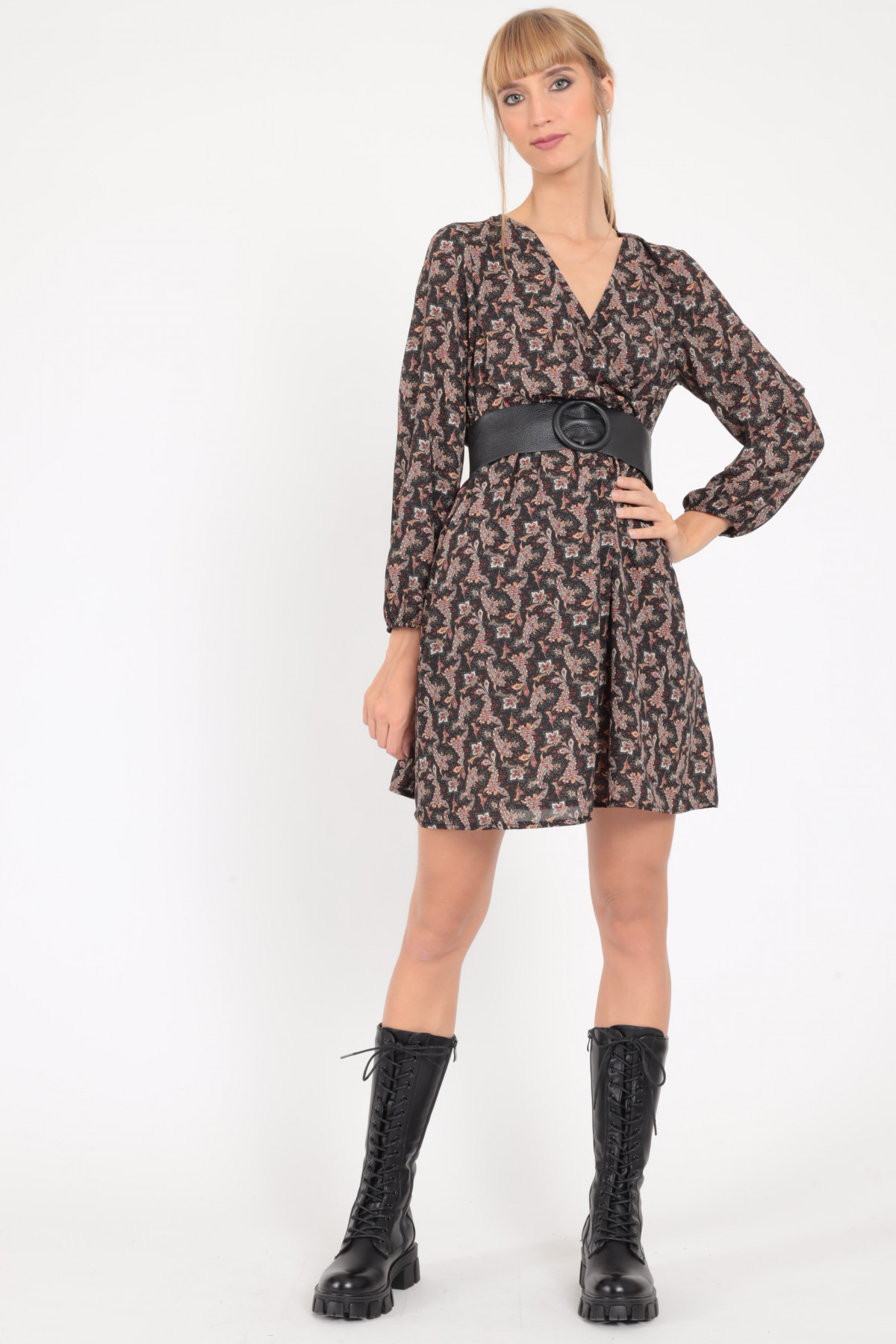 Puff Sleeve Dress with Wallet Closure in Cashmere Fantasy Print