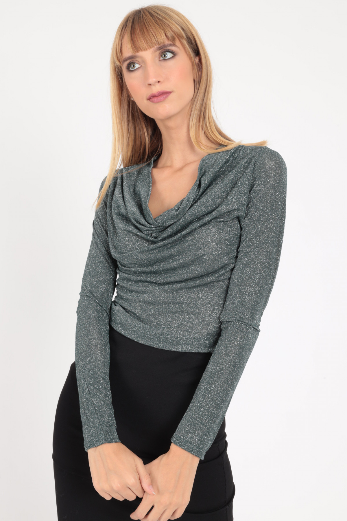 Long Sleeve Lurex T-shirt with Eaves Neckline