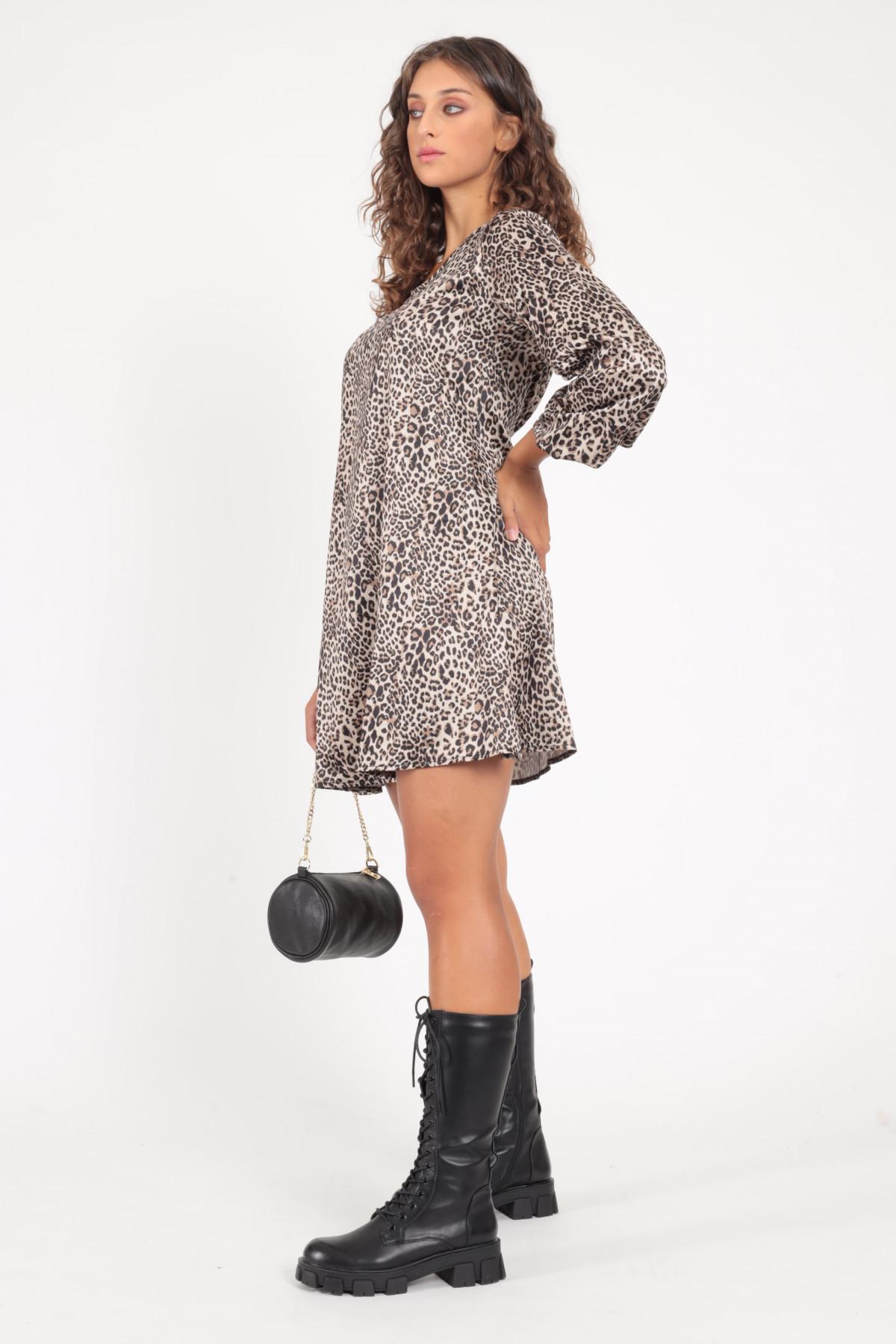 3/4 Sleeve Dress in Animalier Print