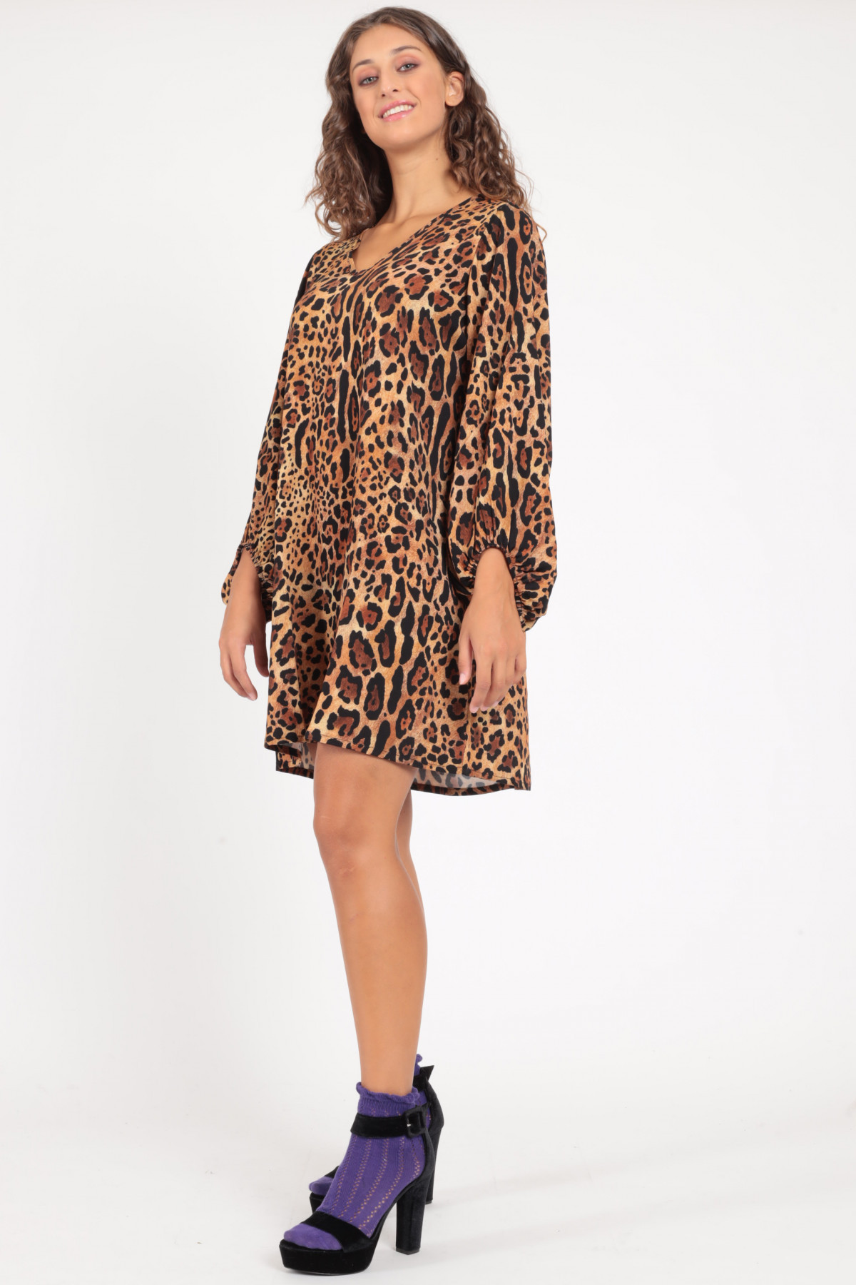 V-Neck Dress with Balloon Sleeves in Animalier Pattern