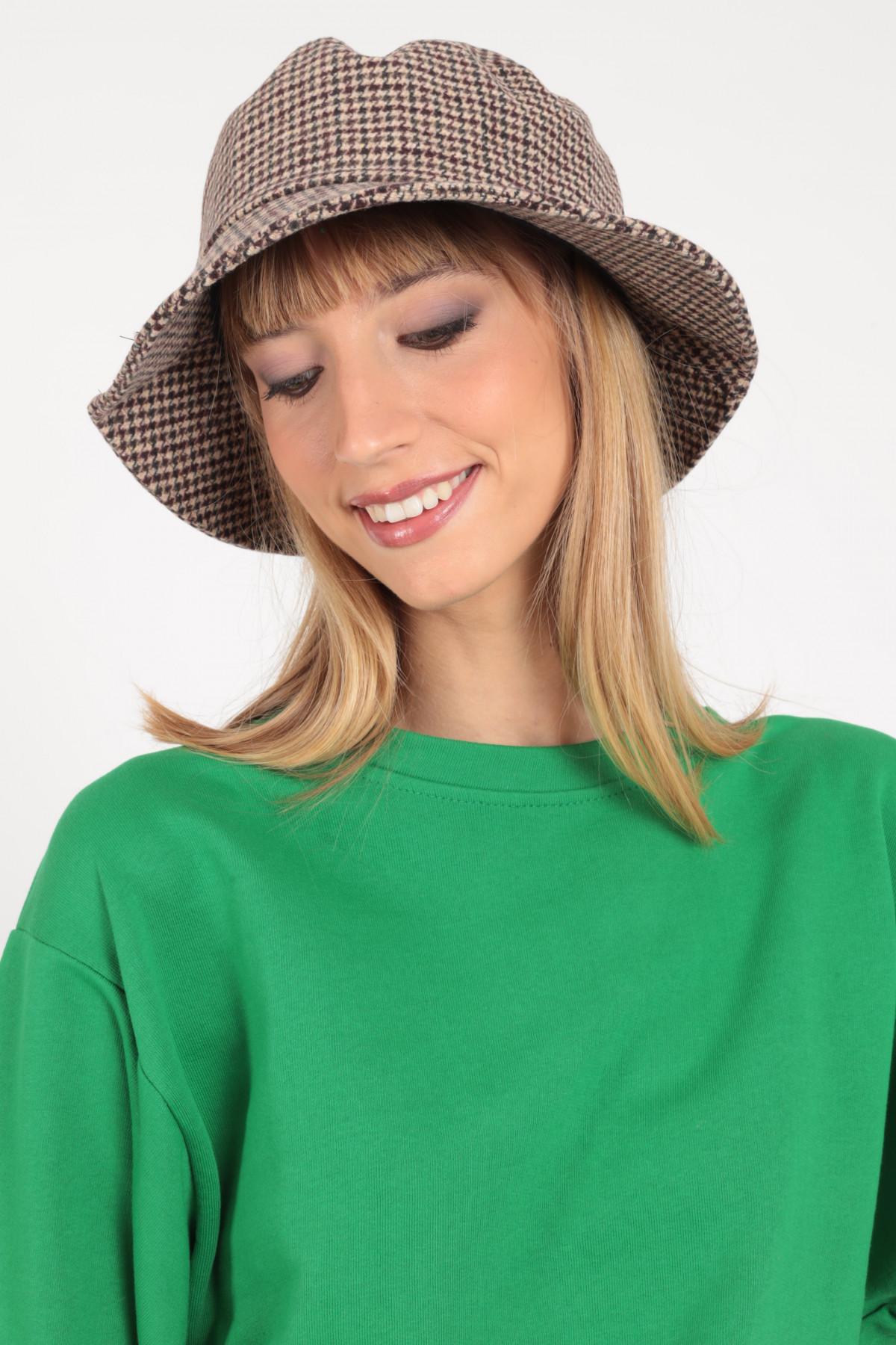 Fishing Hat in Pied de Poule Pattern
