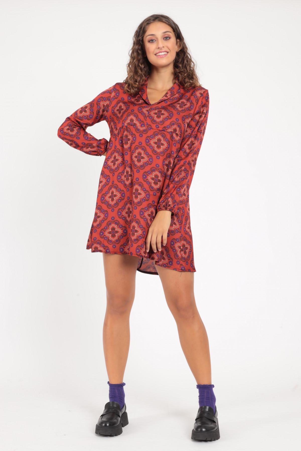 Short Long Sleeve Dress in Floral Fantasy Print